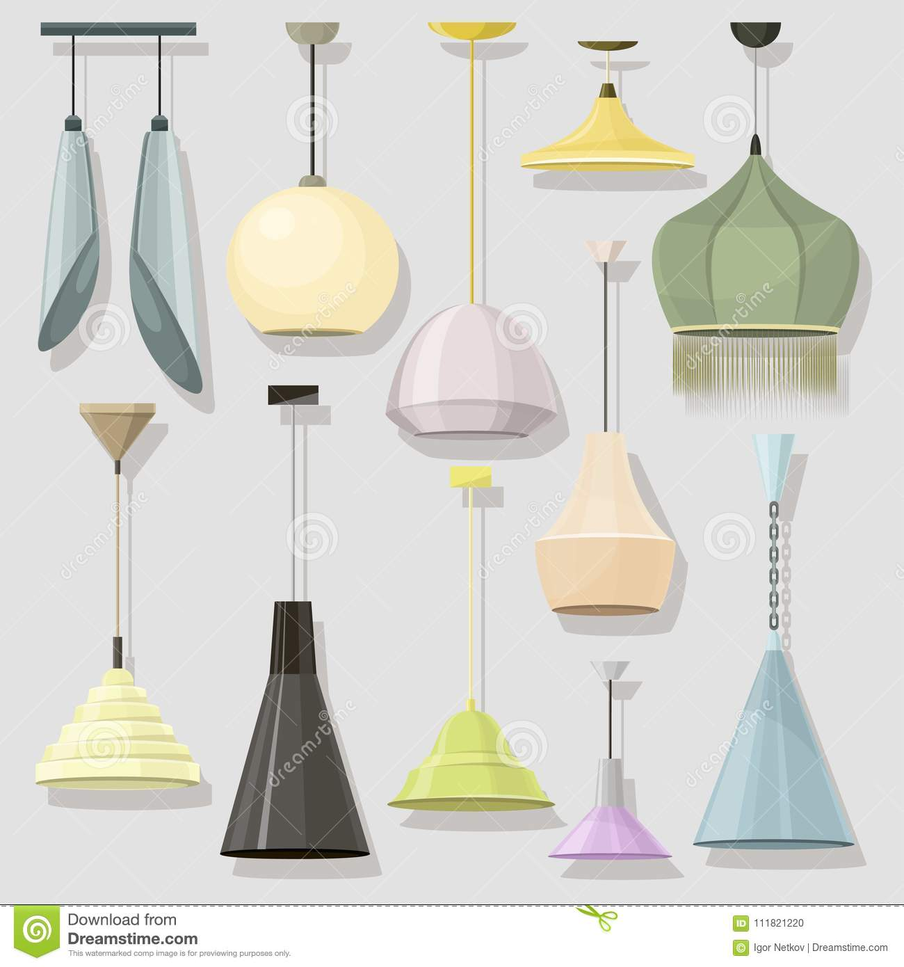 Lamps Sign Set For Interior Electricity Floor Lamp And Table Concept Home Decoration Object In Flat Style
