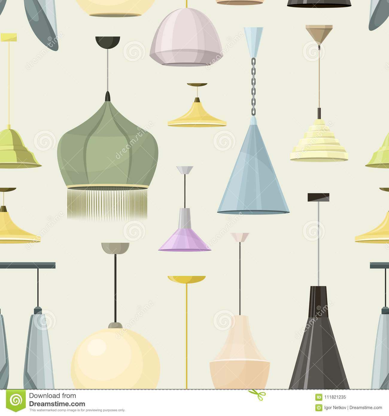 Lamps Sign Set For Interior Pattern Electricity Floor Lamp And Table Concept Home Decoration Object In Flat Style