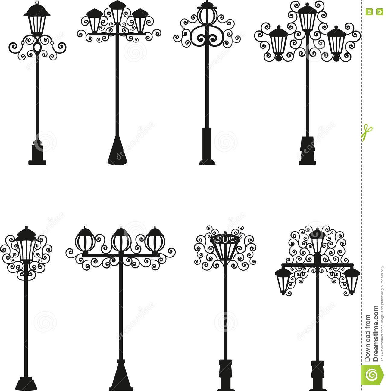 Lamps A Vector Of Black Color Street Lighting Patterns
