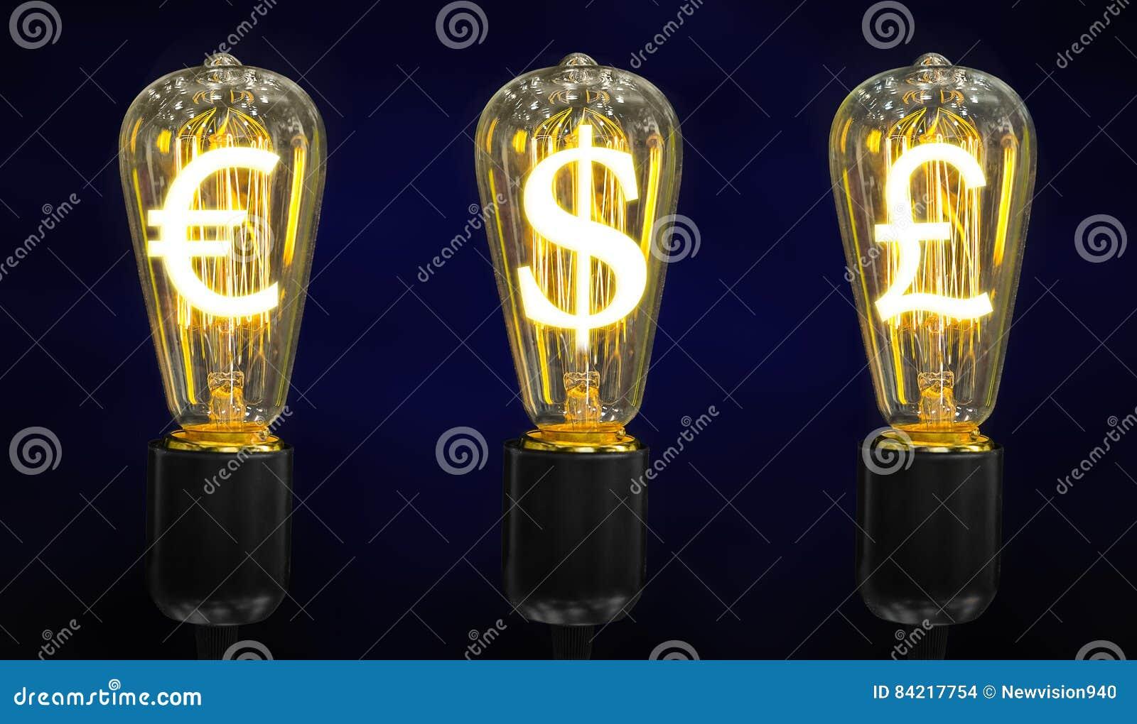 Lampy który jarzeniowi symbole światowe waluty