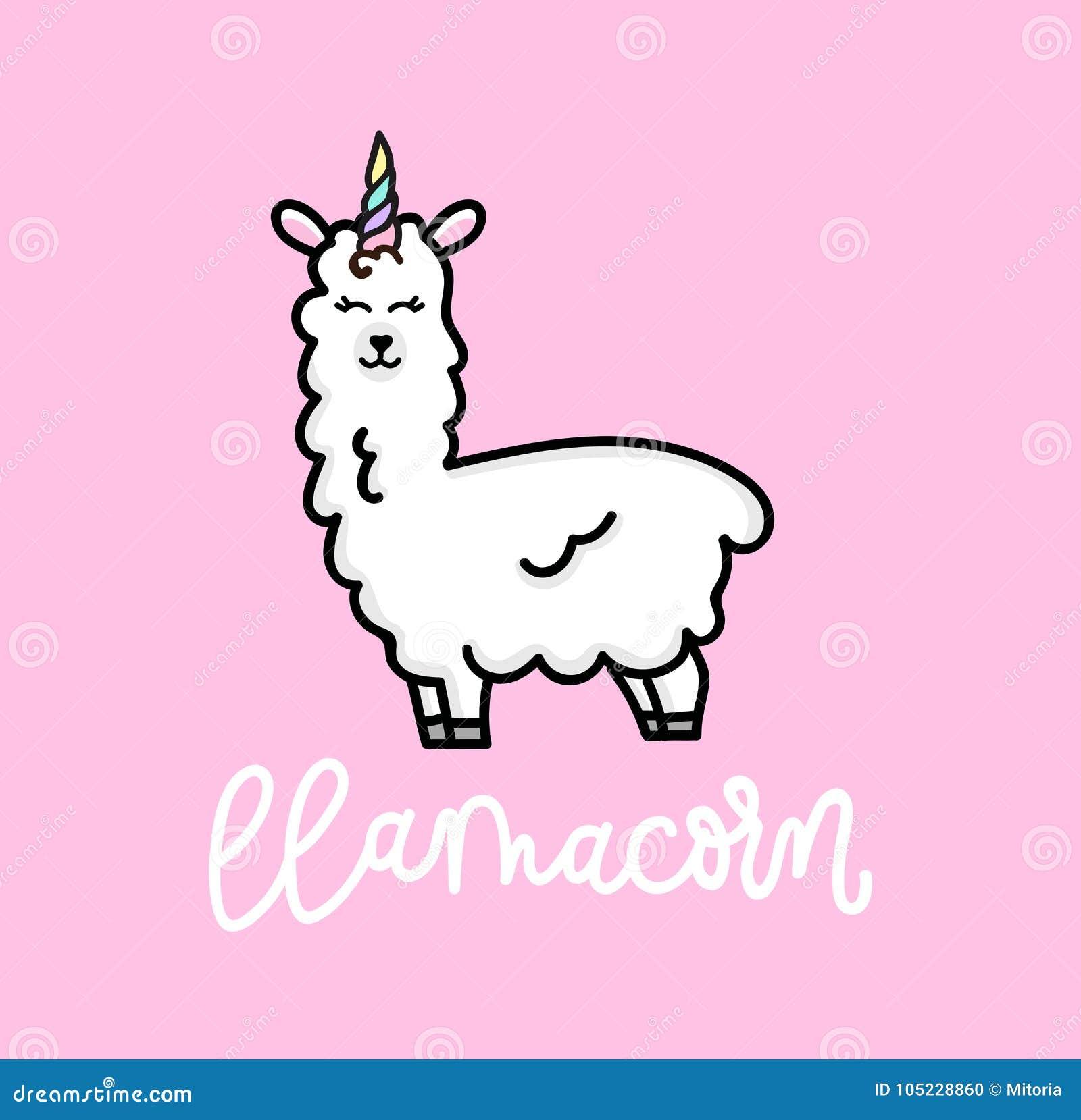 Lamy jednorożec inspiracyjny plakat z lamą i gwiazdami Ręka rysująca