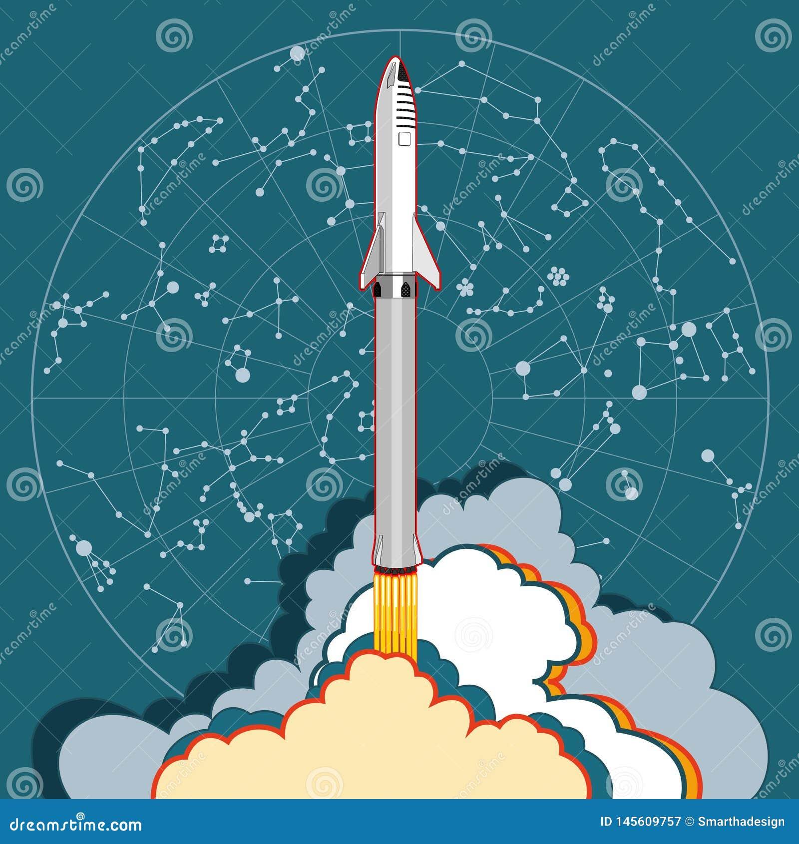 Lançamento da nave espacial de Rocket e mapa de estrela Ilustra??o retro do estilo do vetor Nave espacial dos desenhos animados d