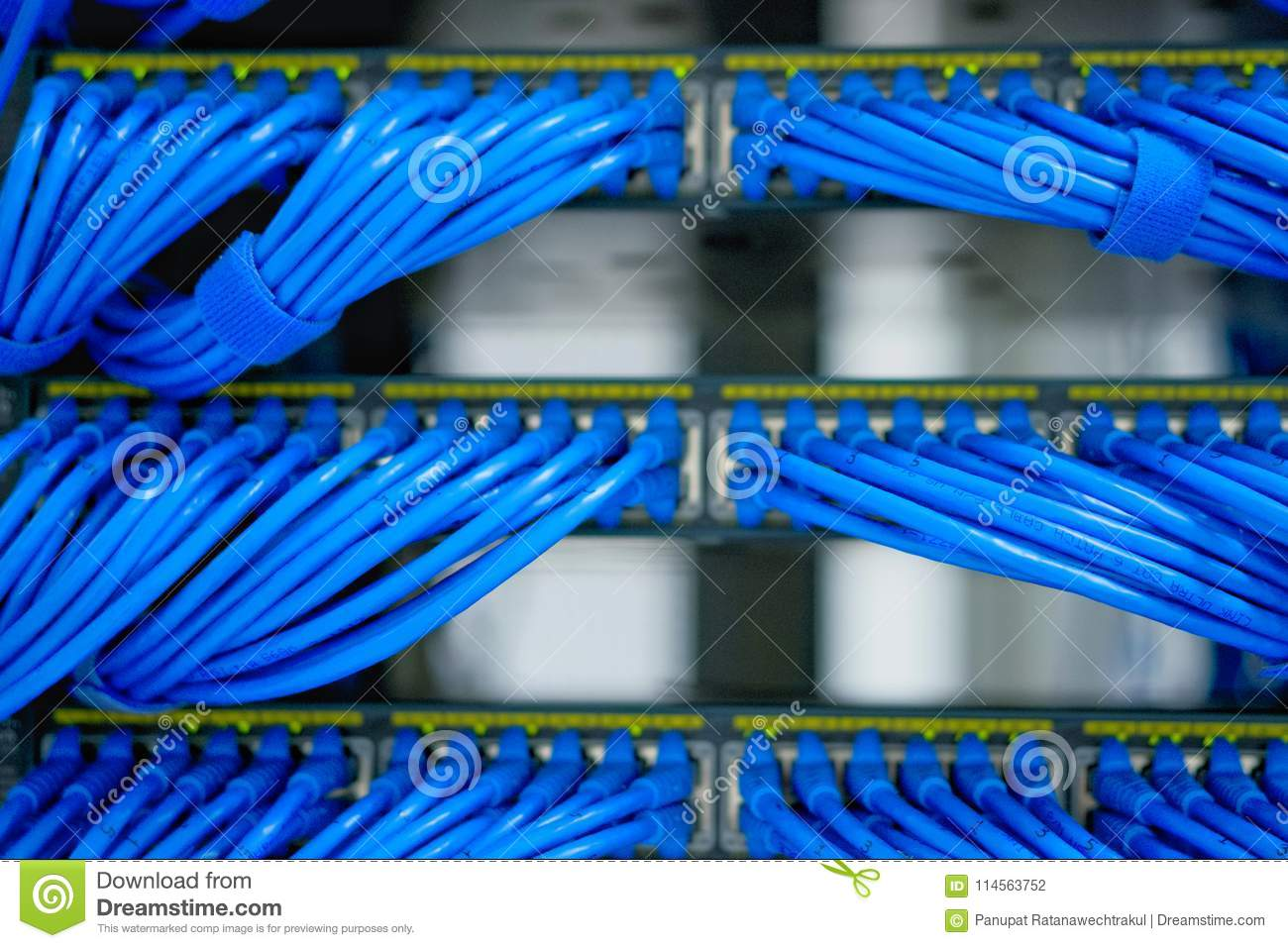 LAN Cable Wiring And Networking In The Data Center. Stock Photo ...