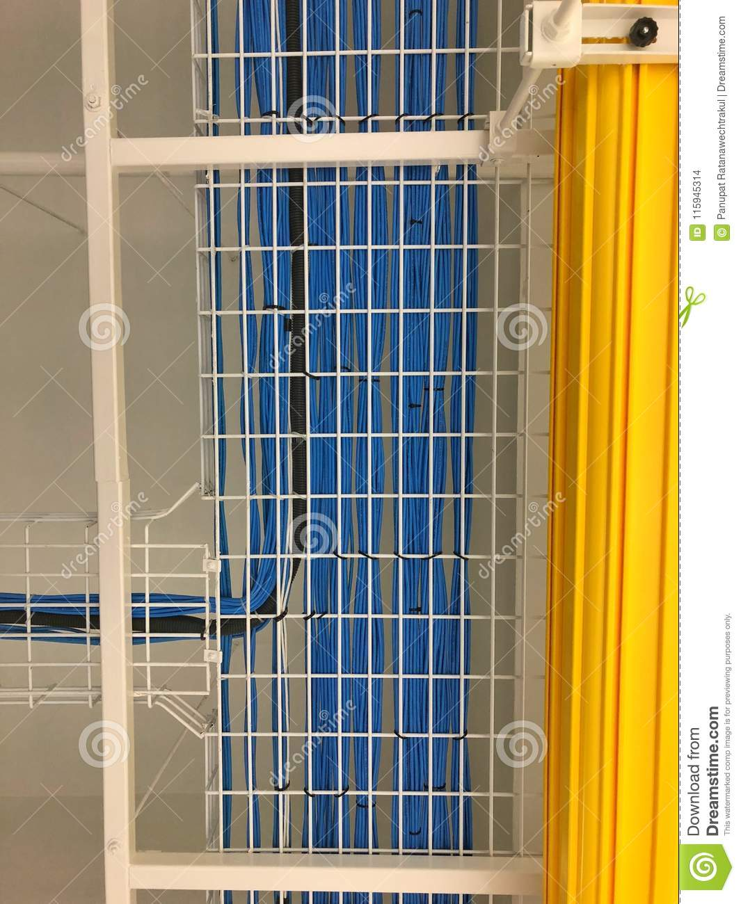LAN Cable Wiring On The Cable Rack . Stock Photo - Image of data ...