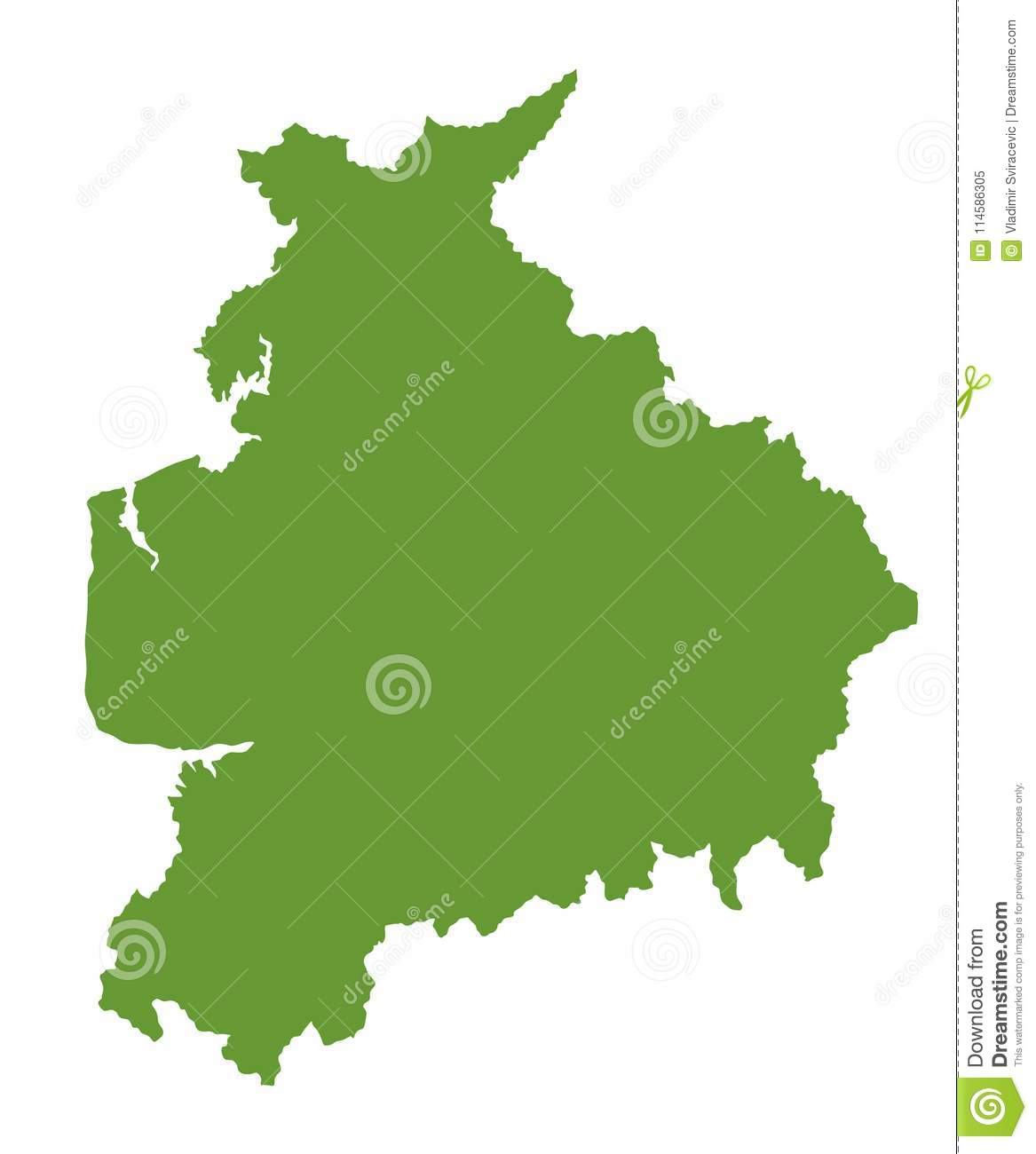 Country Map Of England.Lancashire Silhouette Map County In North West England Stock