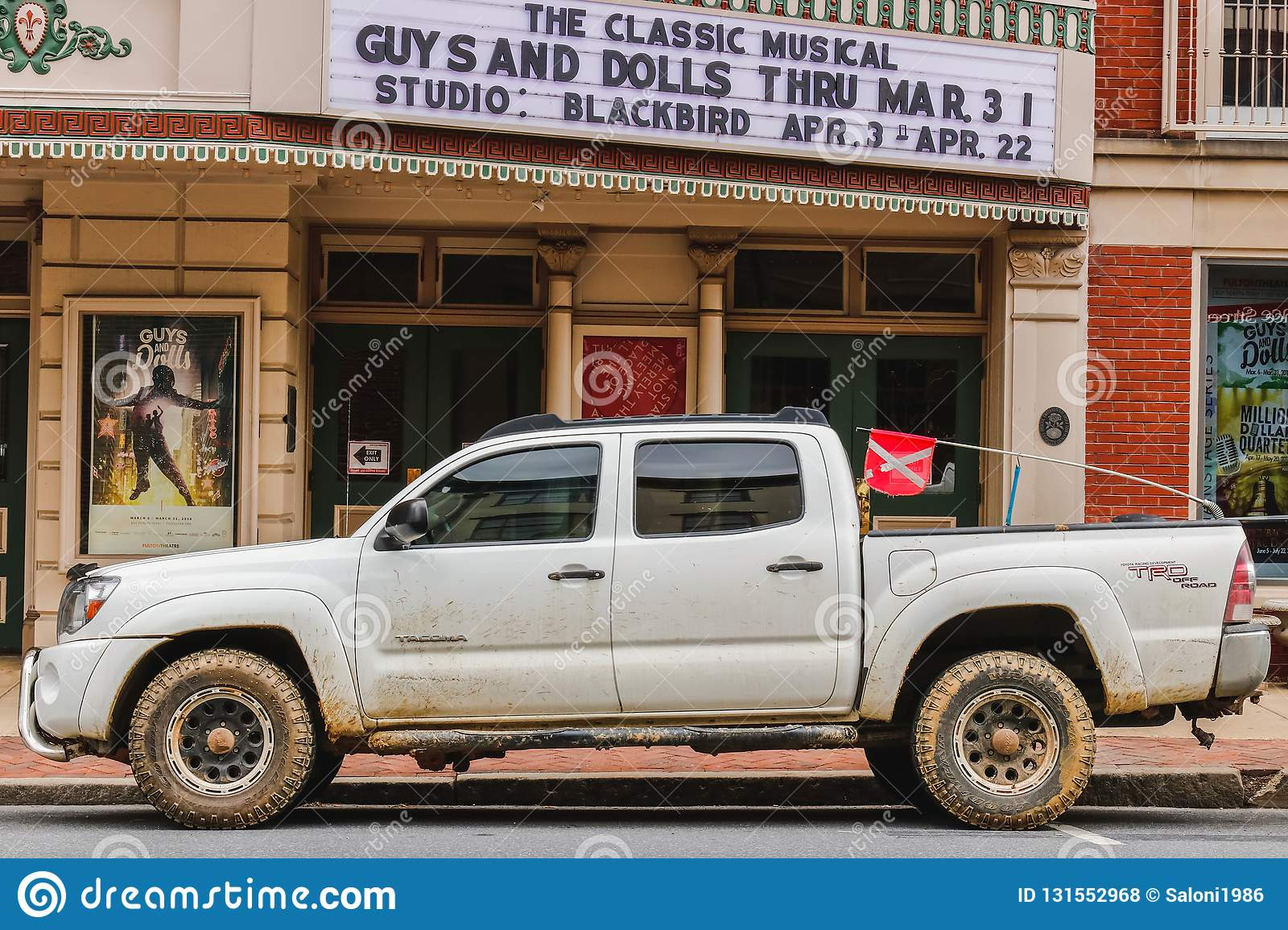 LANCASTER, PENNSYLVANIA - MARCH 21, 2018: Pickup truck near the Fulton theater in historic downtown