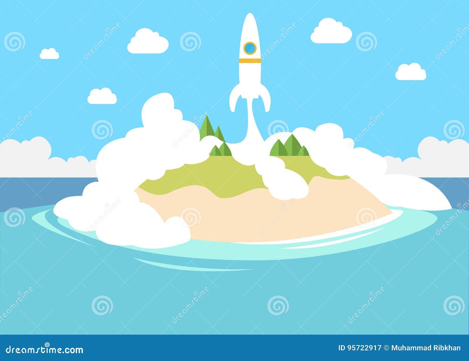 Lancement d un petit démarrage privé avec la fusée à titre illustratif