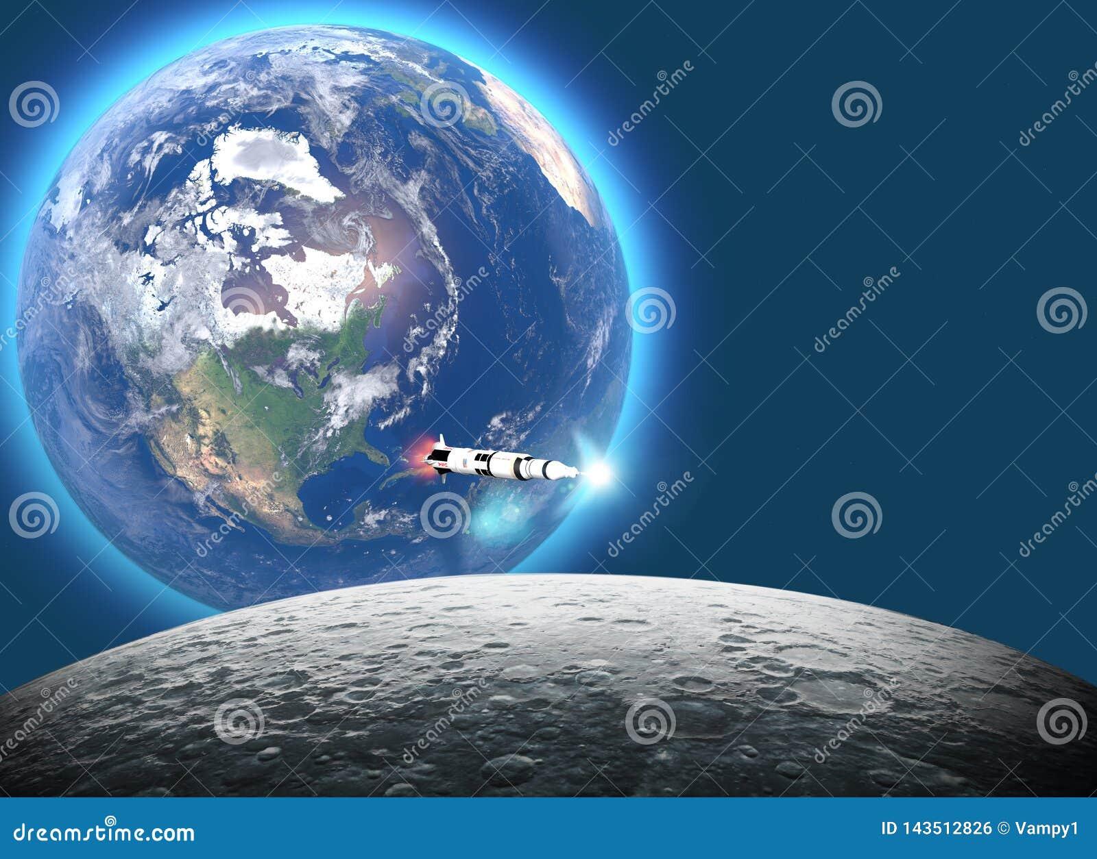 Lancement de la fus?e Saturn v vers la lune, le ciquanti?me anniversaire de l alunissage Mission 11 d Apollo La terre et lune ded