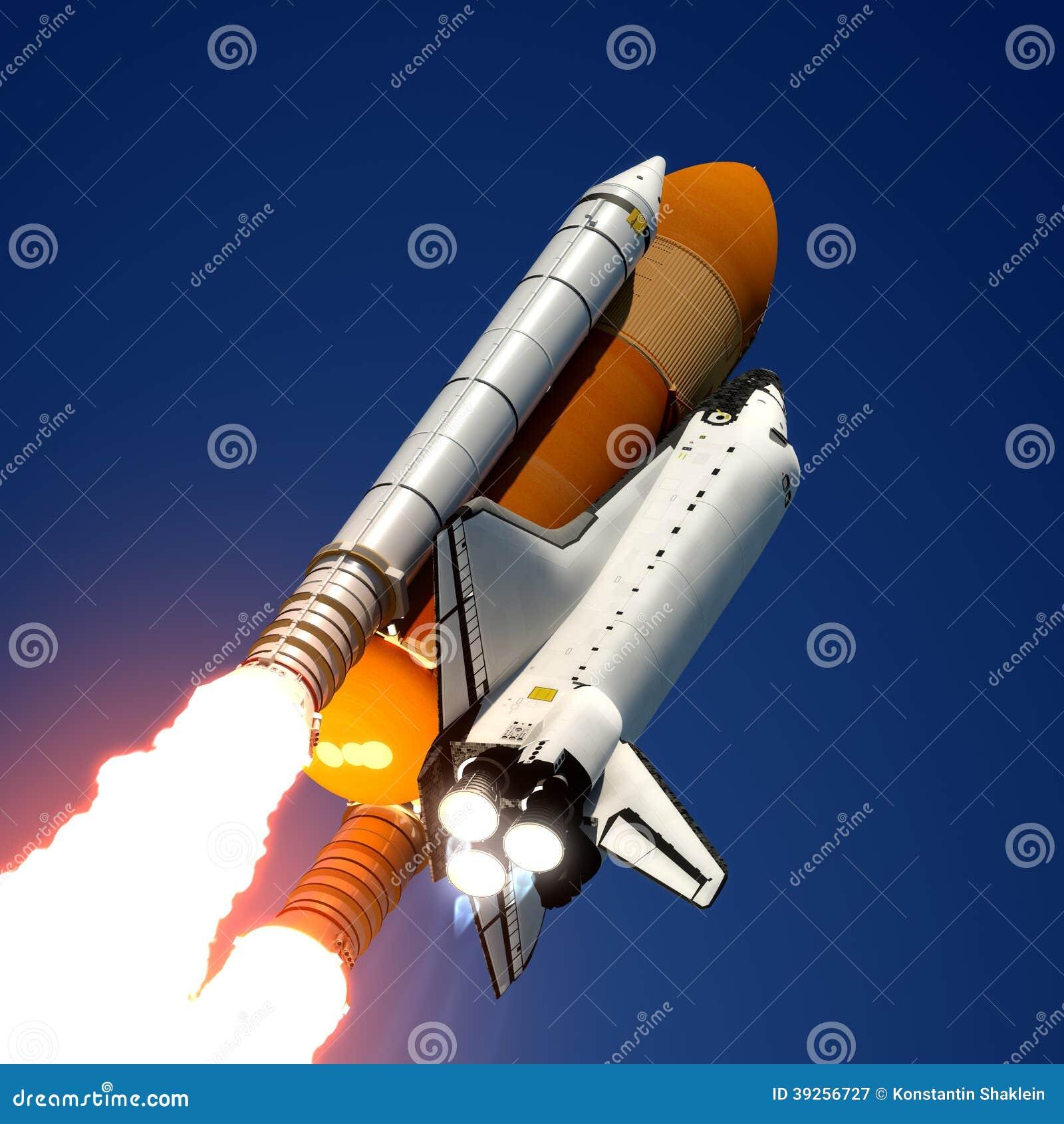 Lancement de navette spatiale.