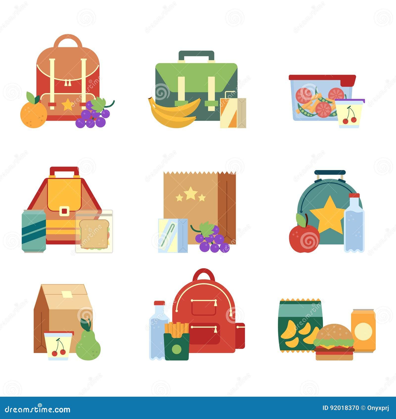 Lancheira e saco com alimento saudável para crianças Ilustrações do vetor no estilo liso