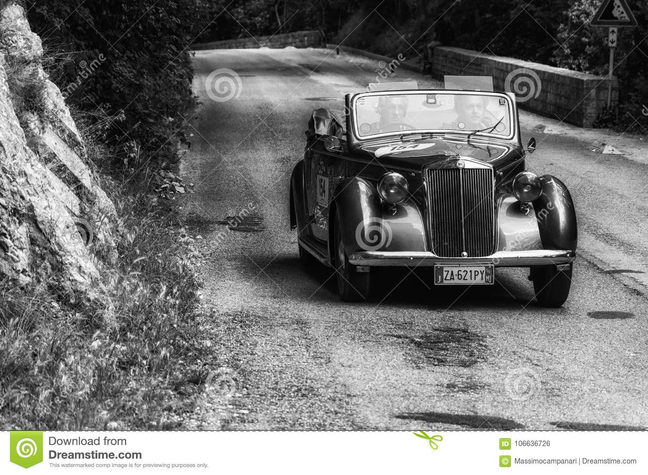LANCIA APRILIA CABRIOLET 1940 On An Old Racing Car In Rally Mille ...