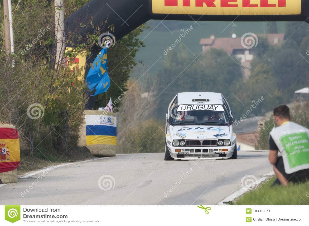 San Marino 21 October 2017 Lancia Delta Integrale On Jump At Rally The Legend Editorial Photo Image Of Driver Audi 103010871