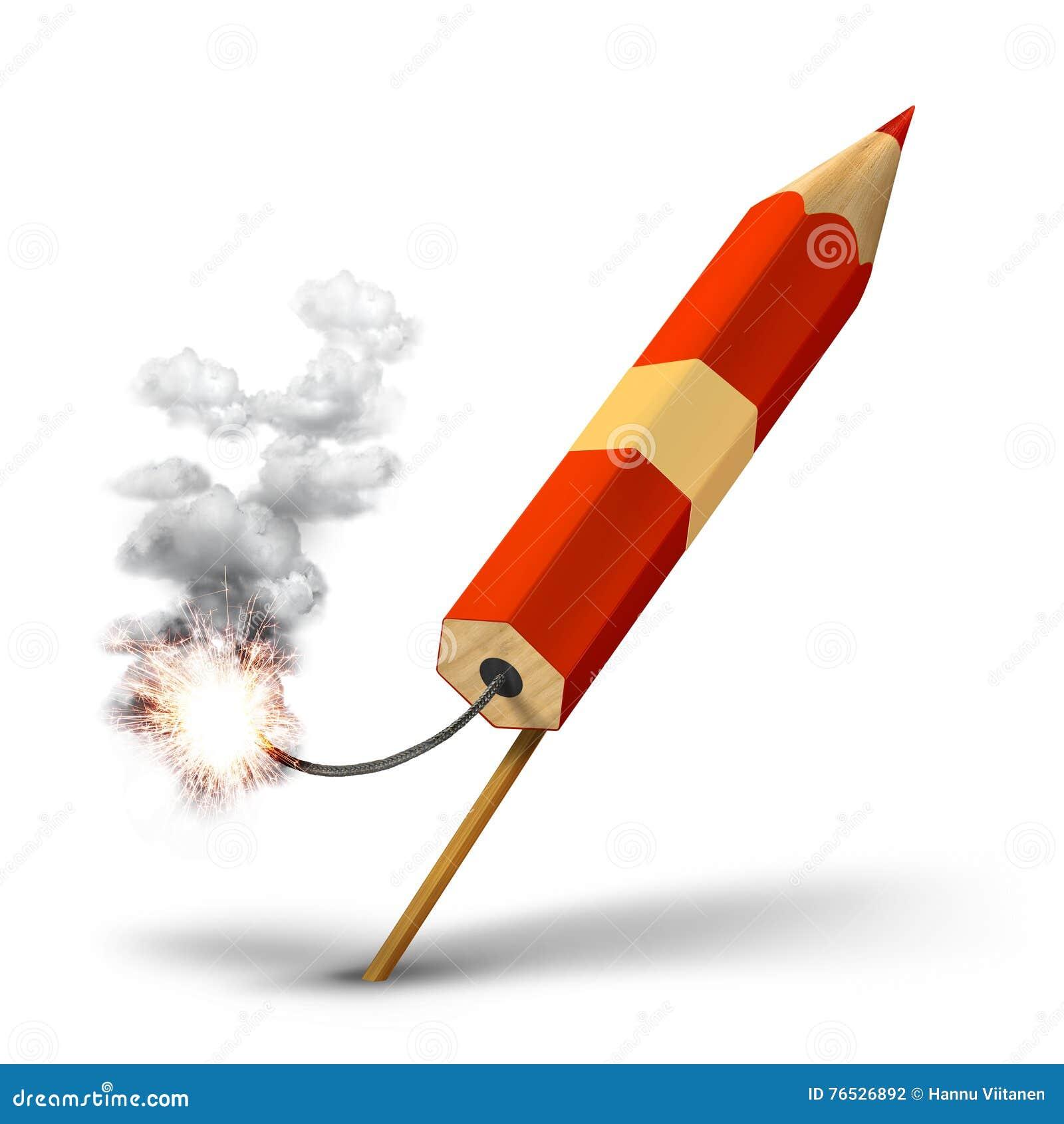 Lancio rosso creativo del razzo della matita illustrazione - Immagini stampabili a razzo ...