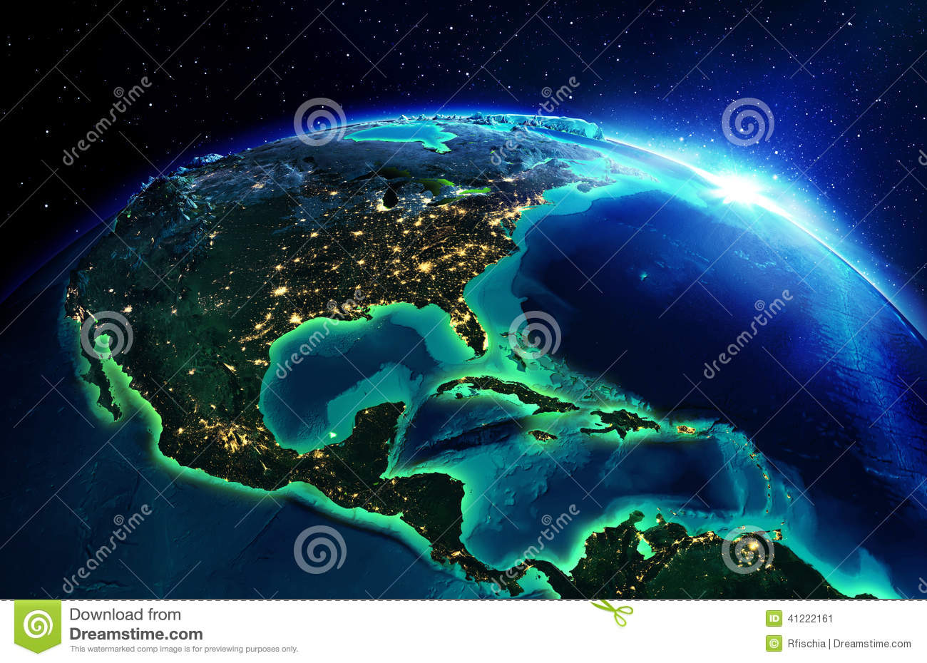 Land area in north america the night stock photo image for How to get free land in usa