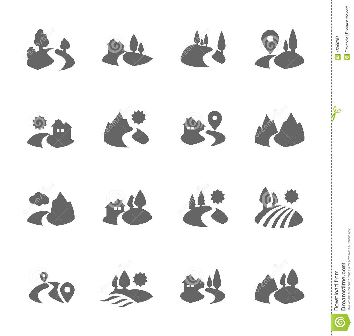 Land Icons Stock Vector. Illustration Of Forest