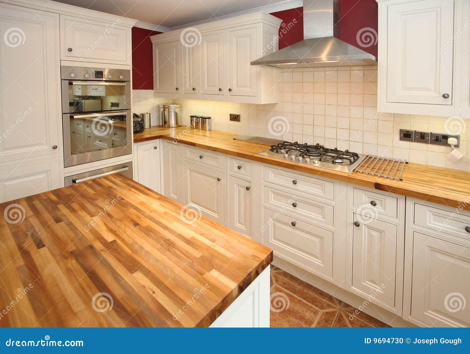 Cyan-blaue Küche Des Landhausstils Stockfoto - Bild von braun ...