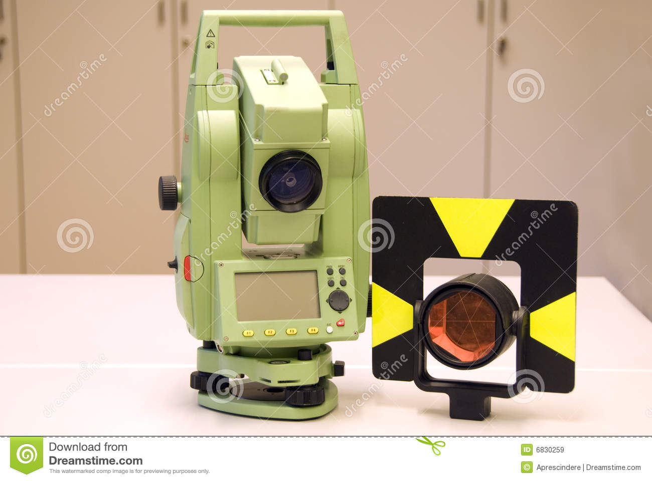 Land Surveying And Prism Stock Image Image Of
