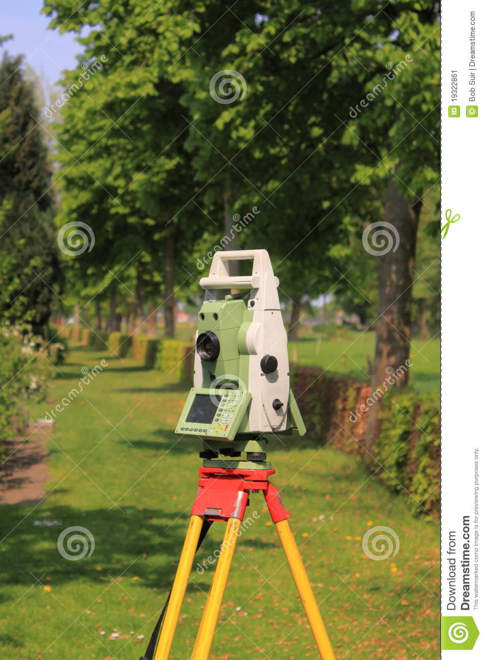 Land Surveyor Total Station On Tripod Stock Image Image