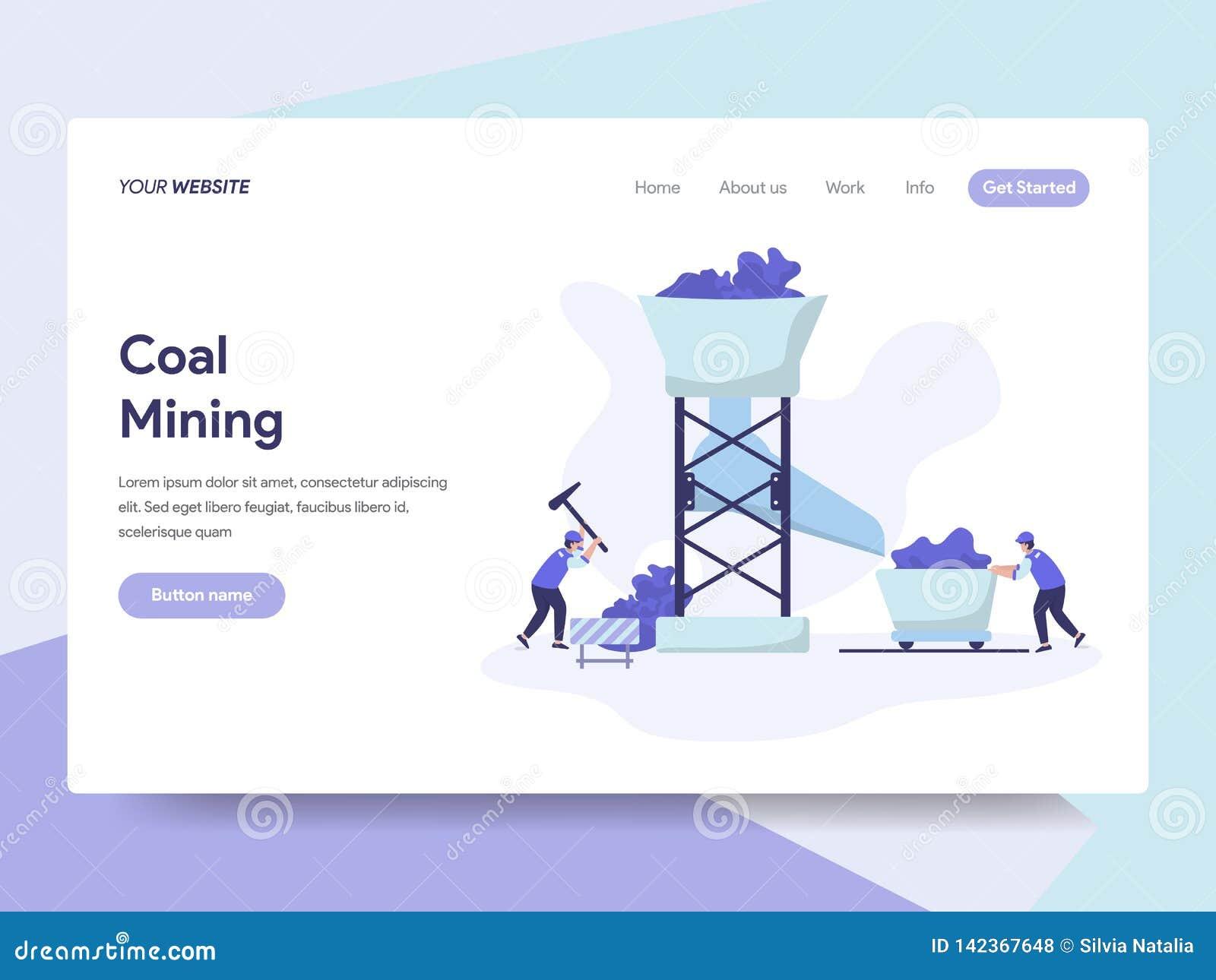 Landa sidamallen av det coalmining illustrationbegreppet Isometriskt plant designbegrepp av webbsidadesignen f?r website och mobi