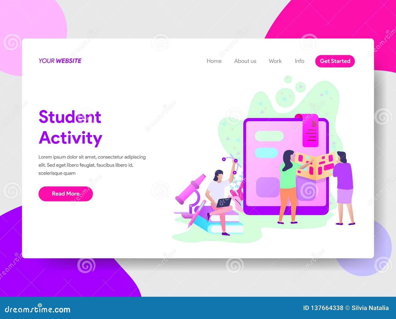 Landa sidamallen av studenten Activity Illustration Concept Modernt plant designbegrepp av webbsidadesignen för website och