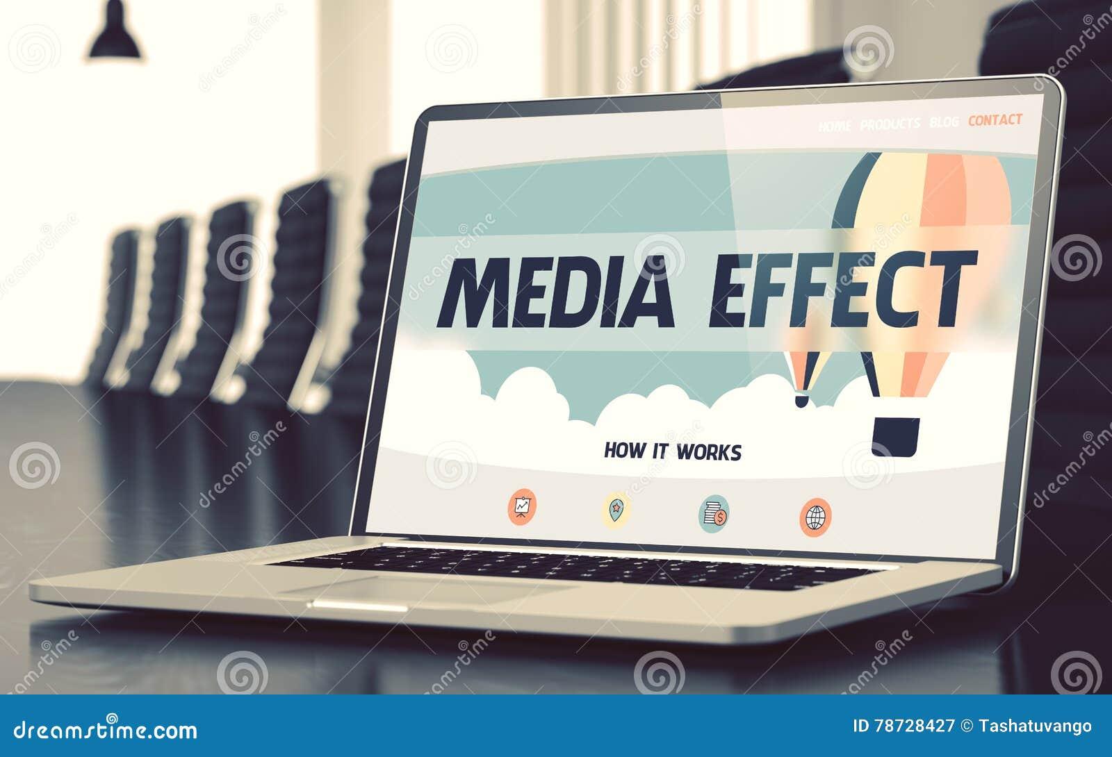 Landa sidan av bärbara datorn med begrepp för massmediaeffekt 3d