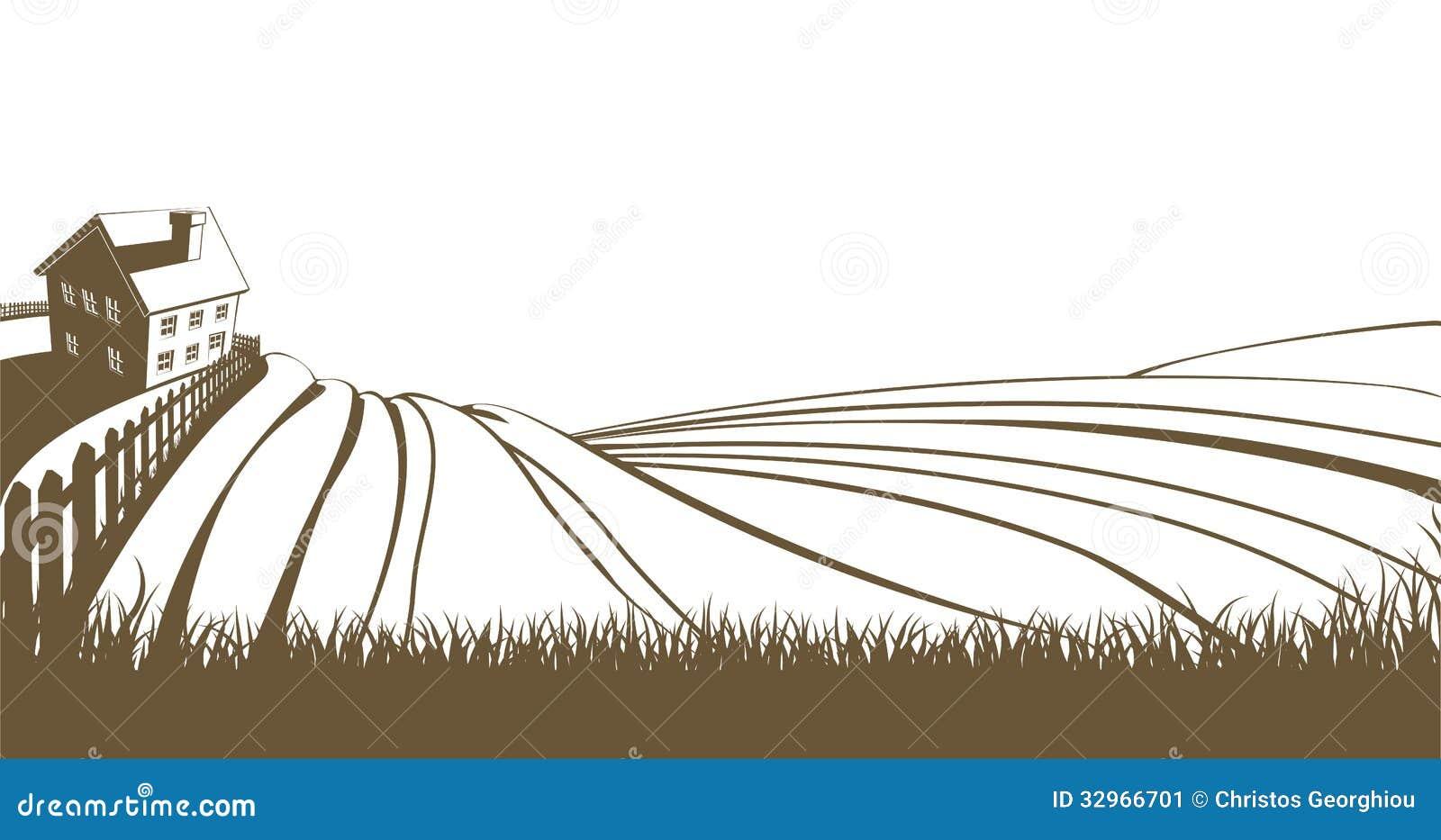 Landbouwbedrijf en rollende heuvels