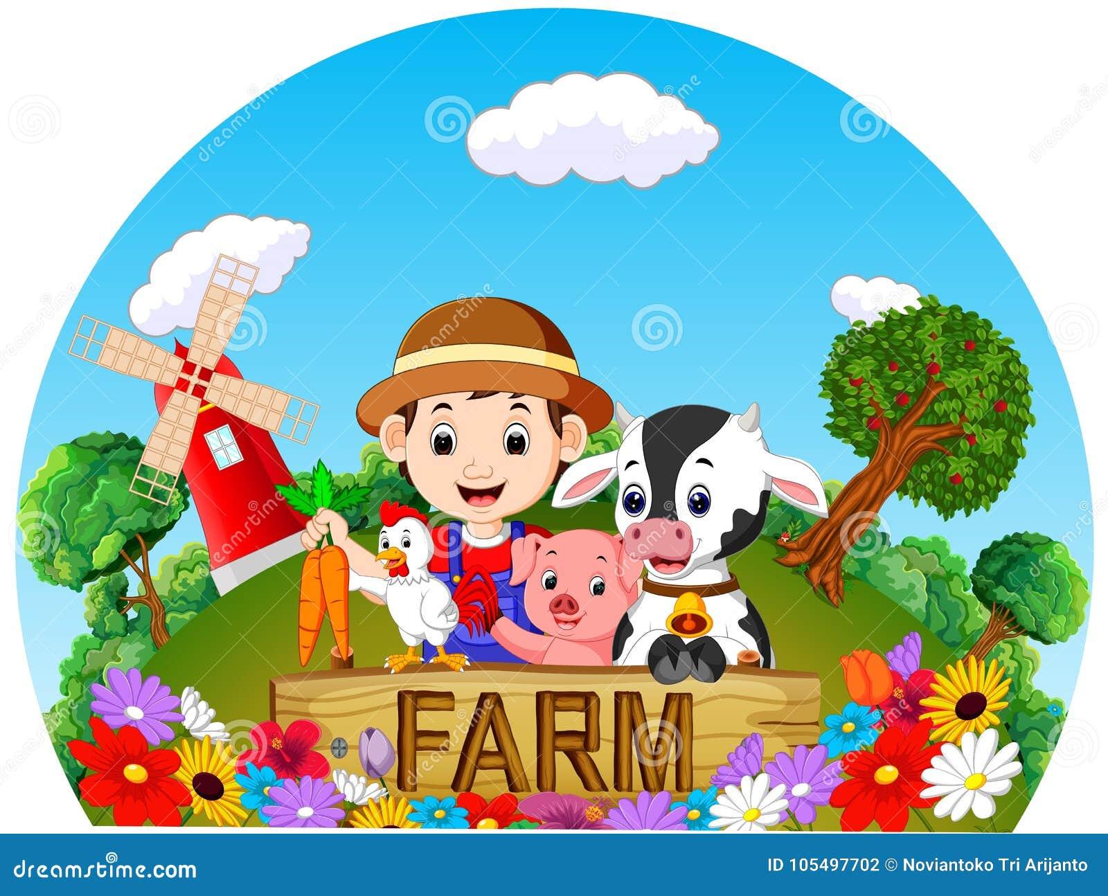 Landbouwbedrijfscènes met vele dieren en landbouwers