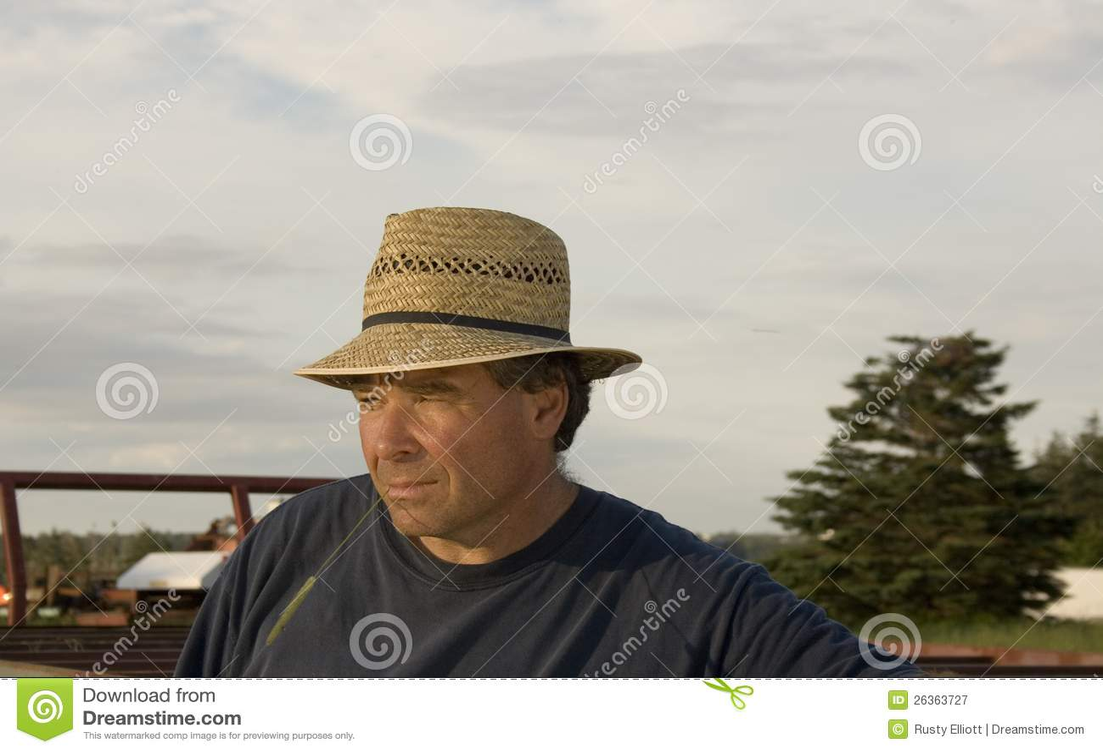 Landbouwer met een strohoed
