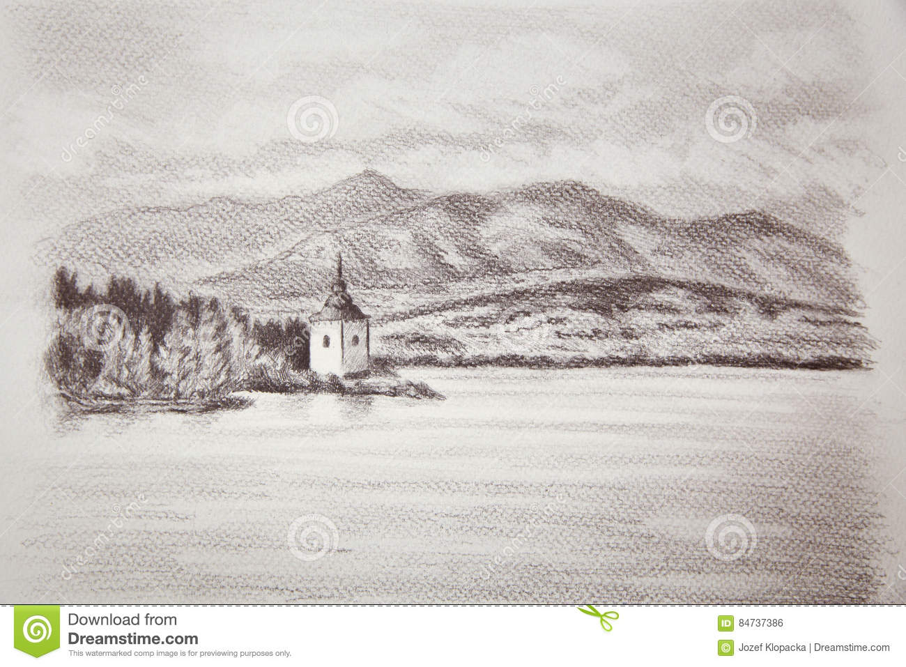 Landcsape Scenery With Lake Chapel And Mountains Pencil