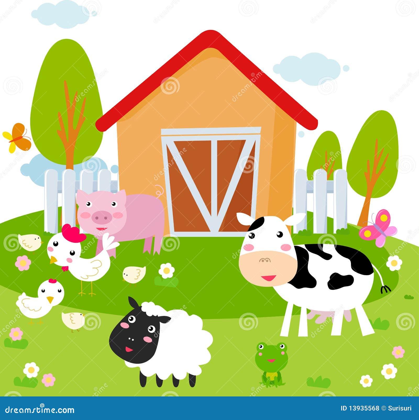 Landelijk landschap met landbouwbedrijfdieren.