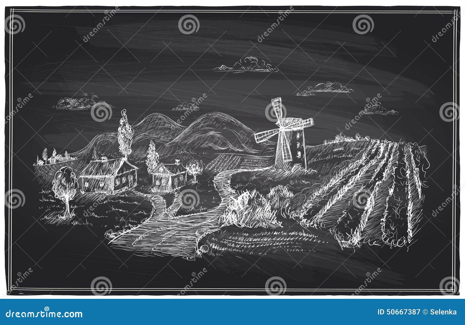 Landelijk landschap, windmolen en wijngaardkrijt