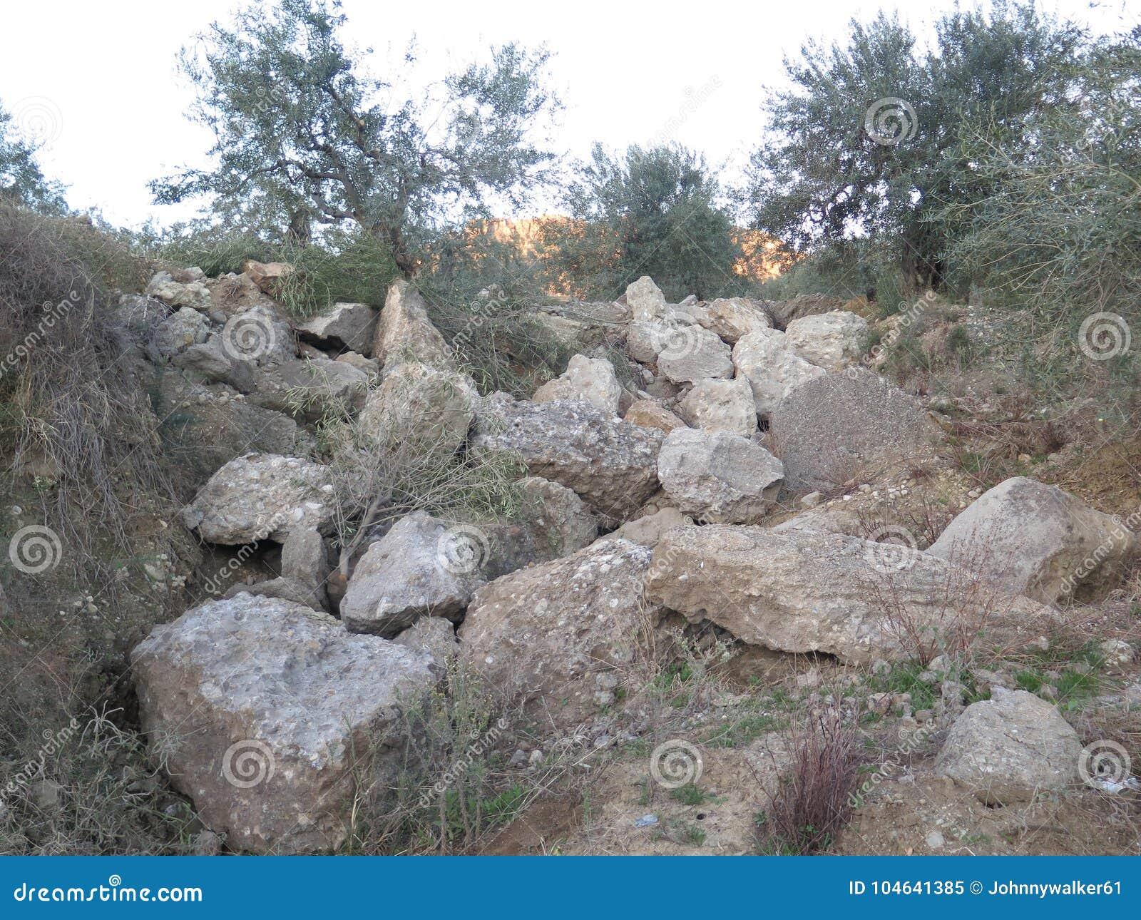 Download Landelijke Rockery In Olijfgaard Stock Afbeelding - Afbeelding bestaande uit landschap, installaties: 104641385