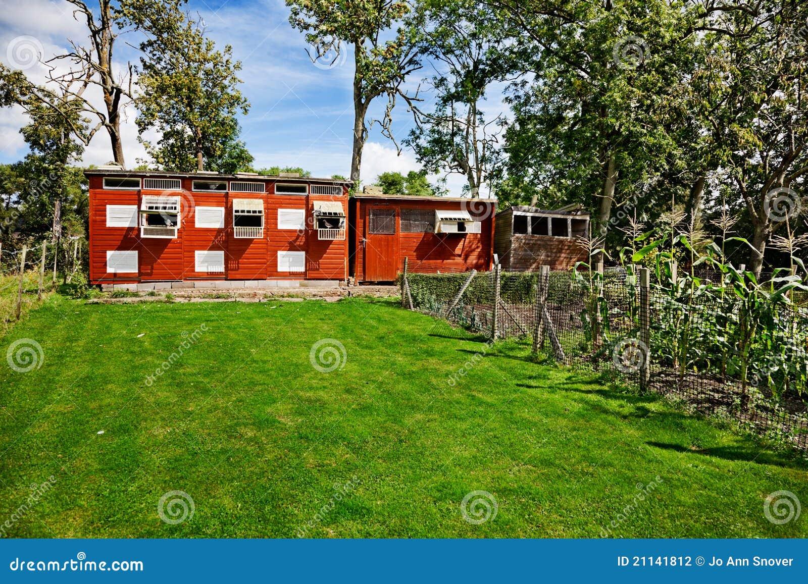 Landelijke Tuin Met Kippenren Stock Fotografie   Afbeelding  21141812