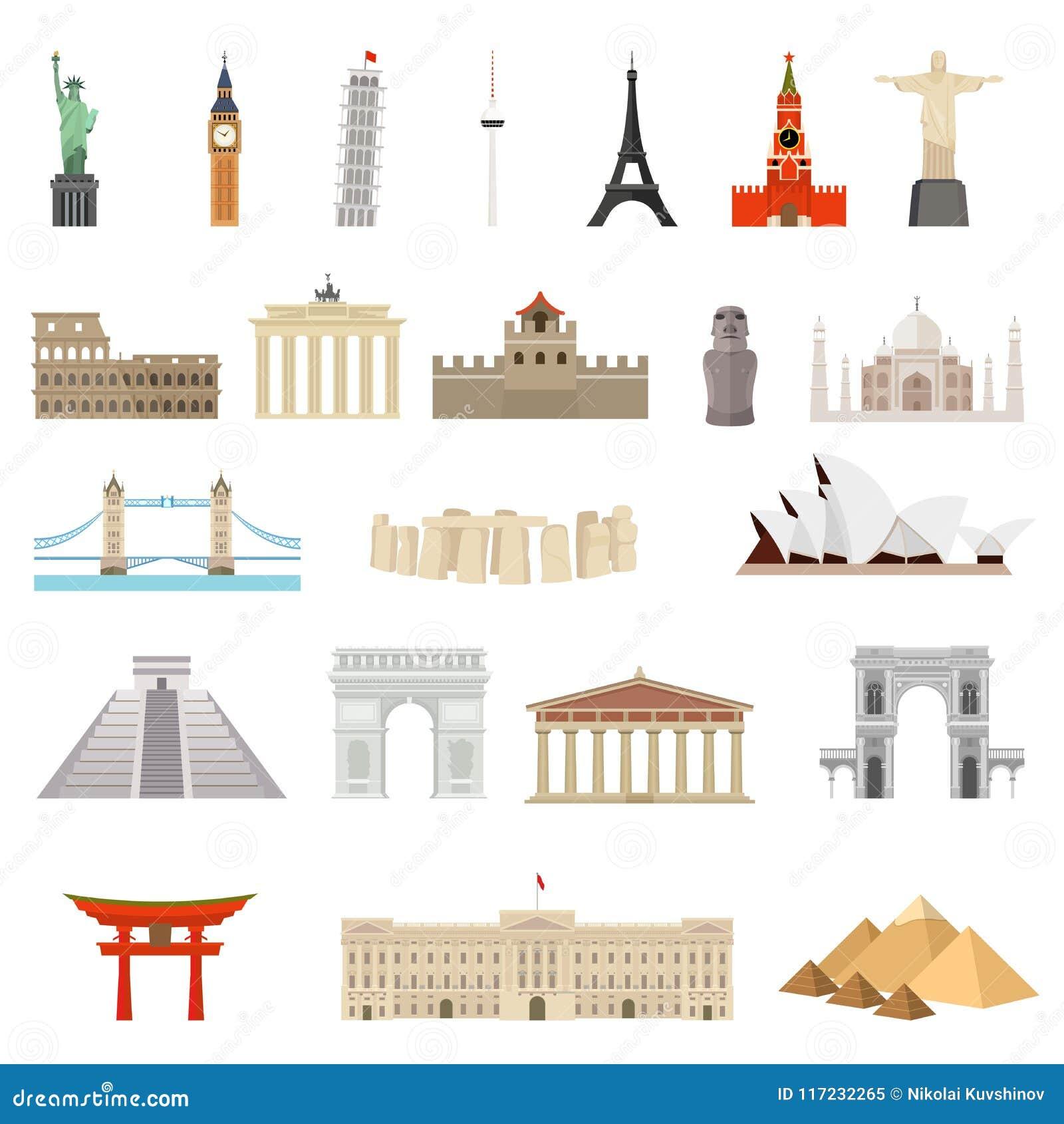 Landen van de wereld architectuur, monumenten of oriëntatiepuntpictogram