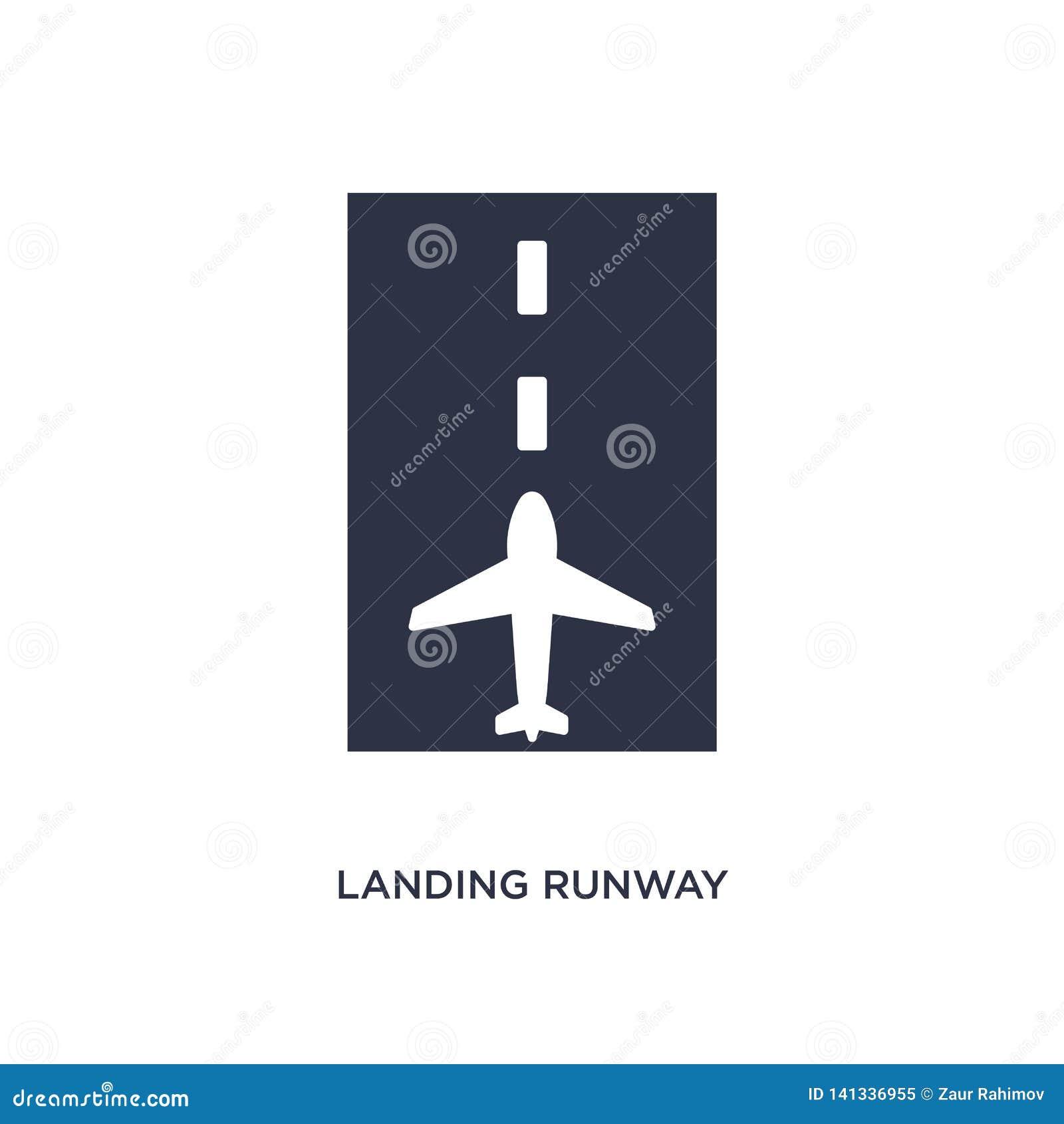 Landend baanpictogram op witte achtergrond Eenvoudige elementenillustratie van luchthaven eindconcept
