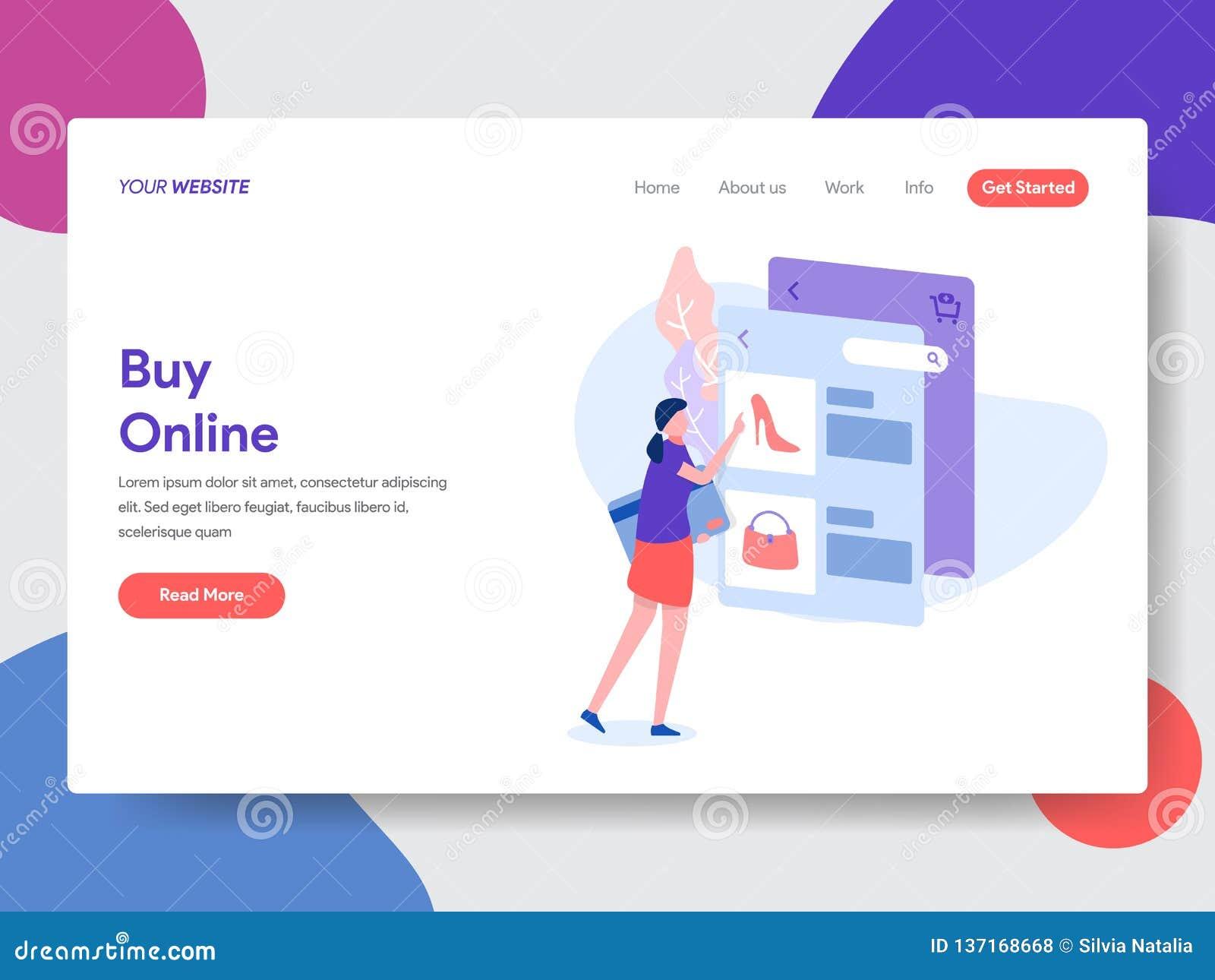 Landend paginamalplaatje van online het Winkelen r Vector