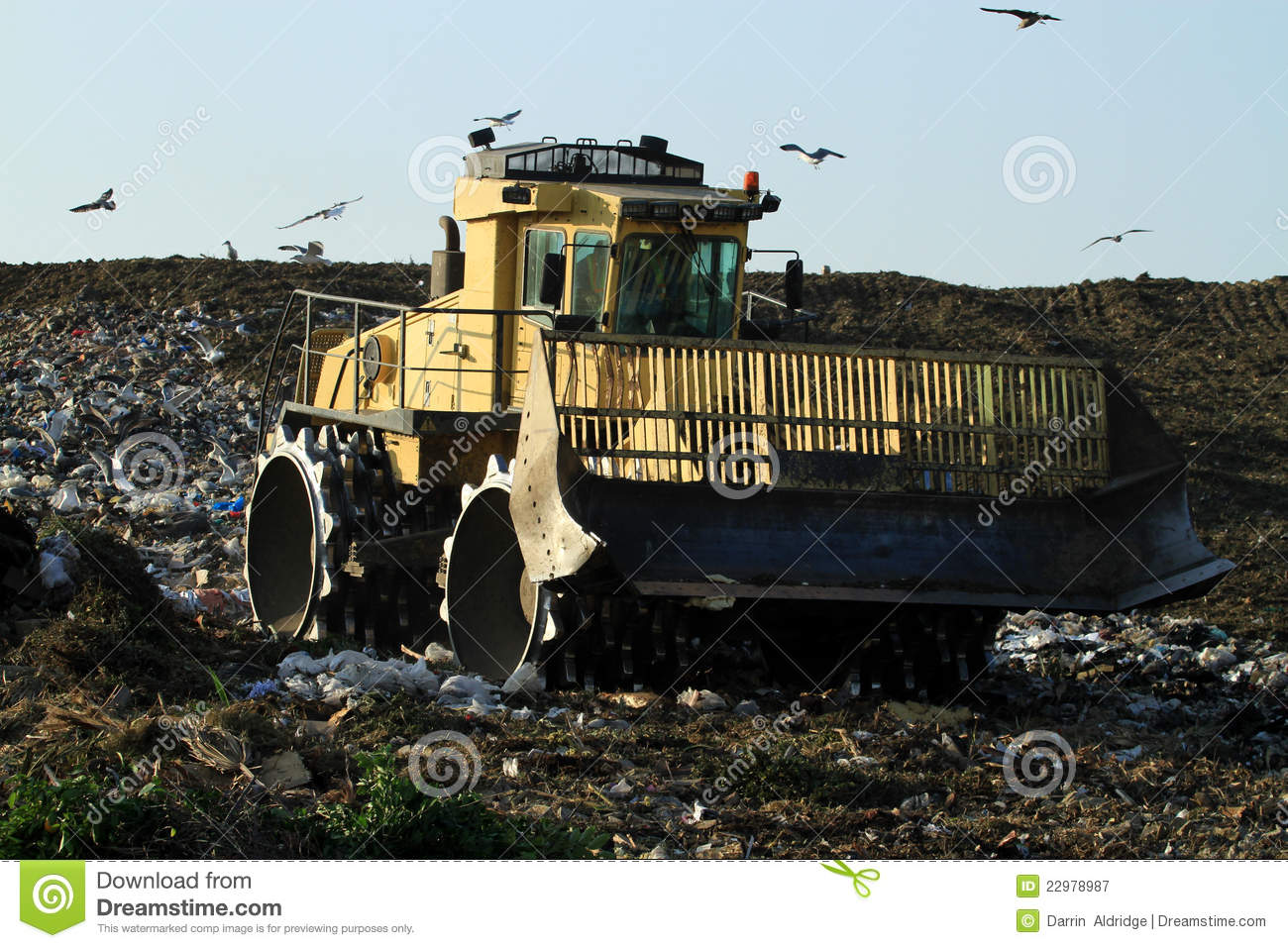 Landfills With Tractors : Landfill bulldozer stock image of birds hill