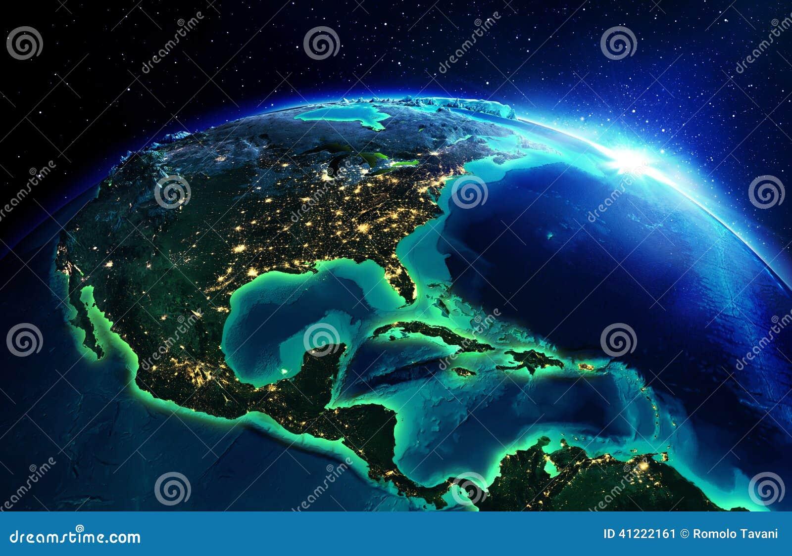 Landgebied in Noord-Amerika de nacht
