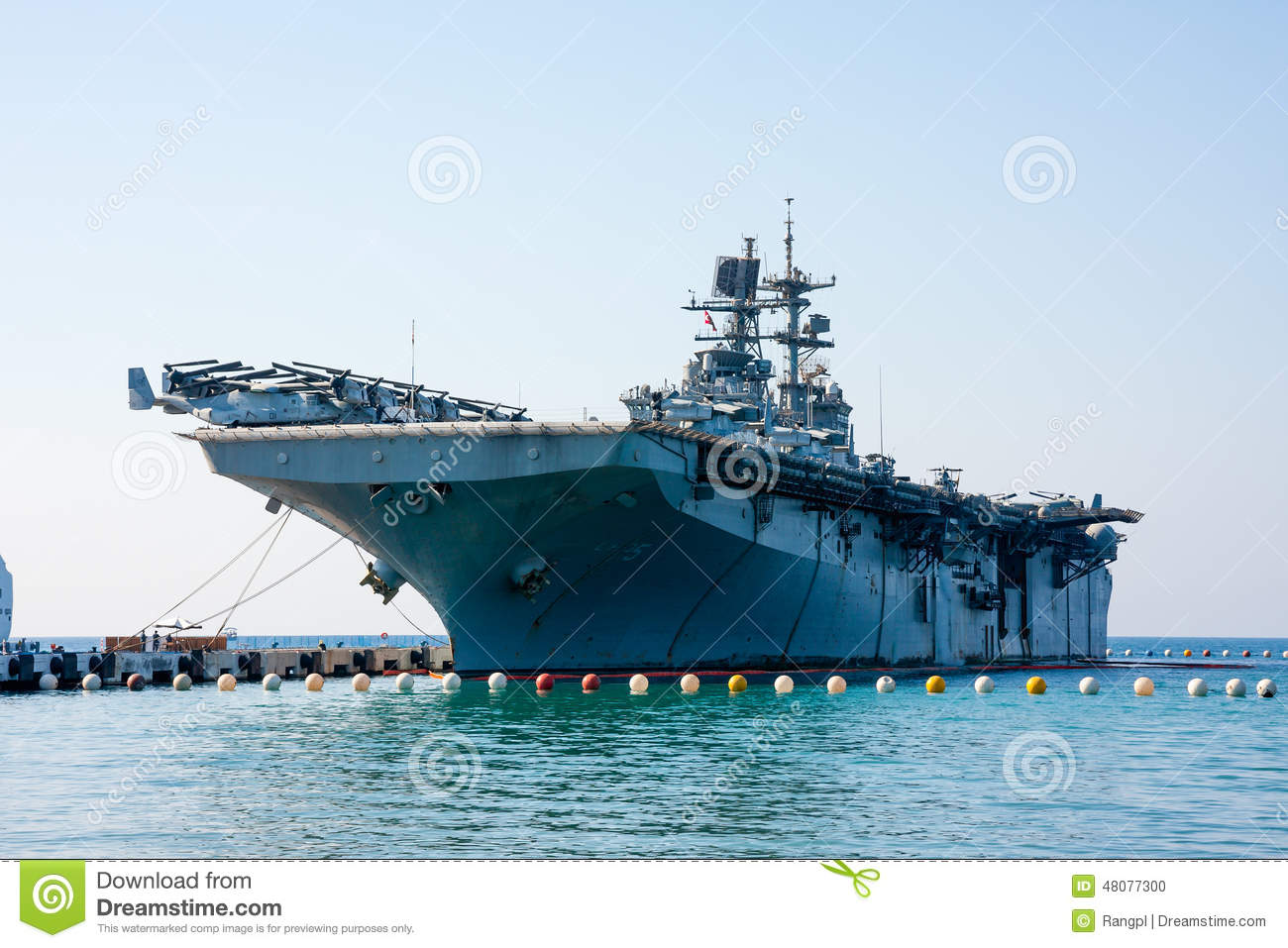 KUSADASI, TURKEY - OCTOBER 06, 2014: Assault ship, an aircraft carrier ...