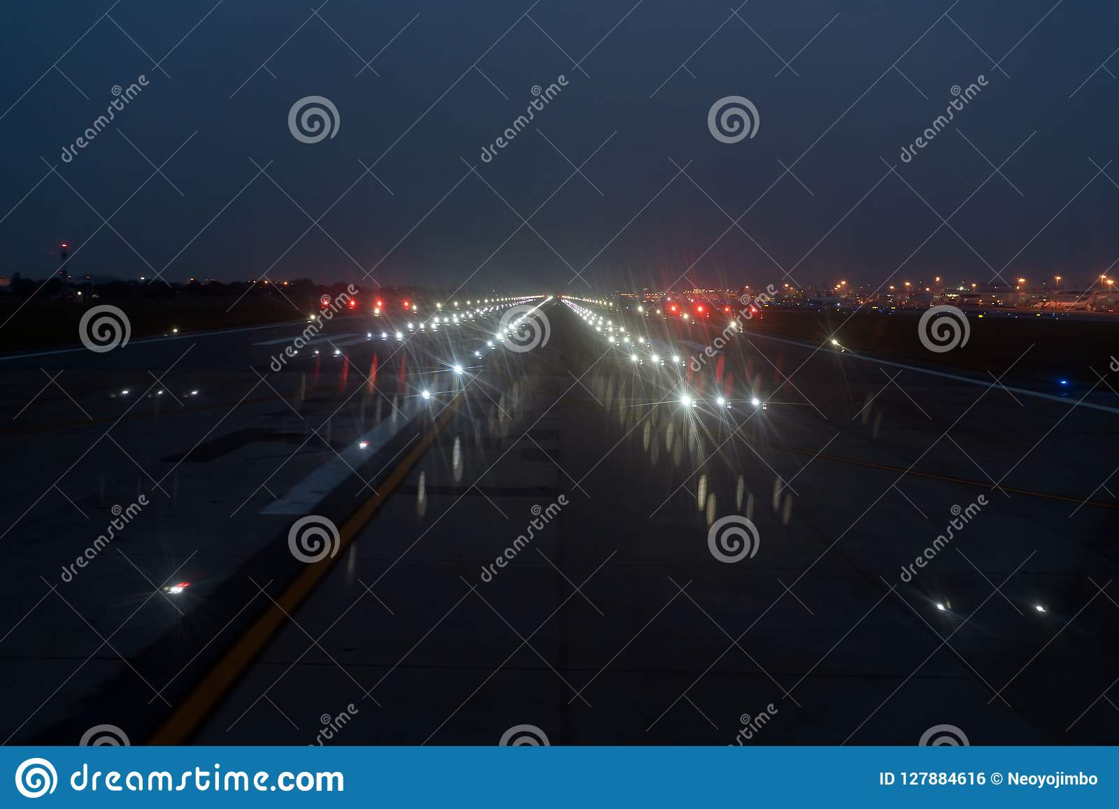 Landing Lights ON A Airport Runway At Night Sky  Stock Photo - Image