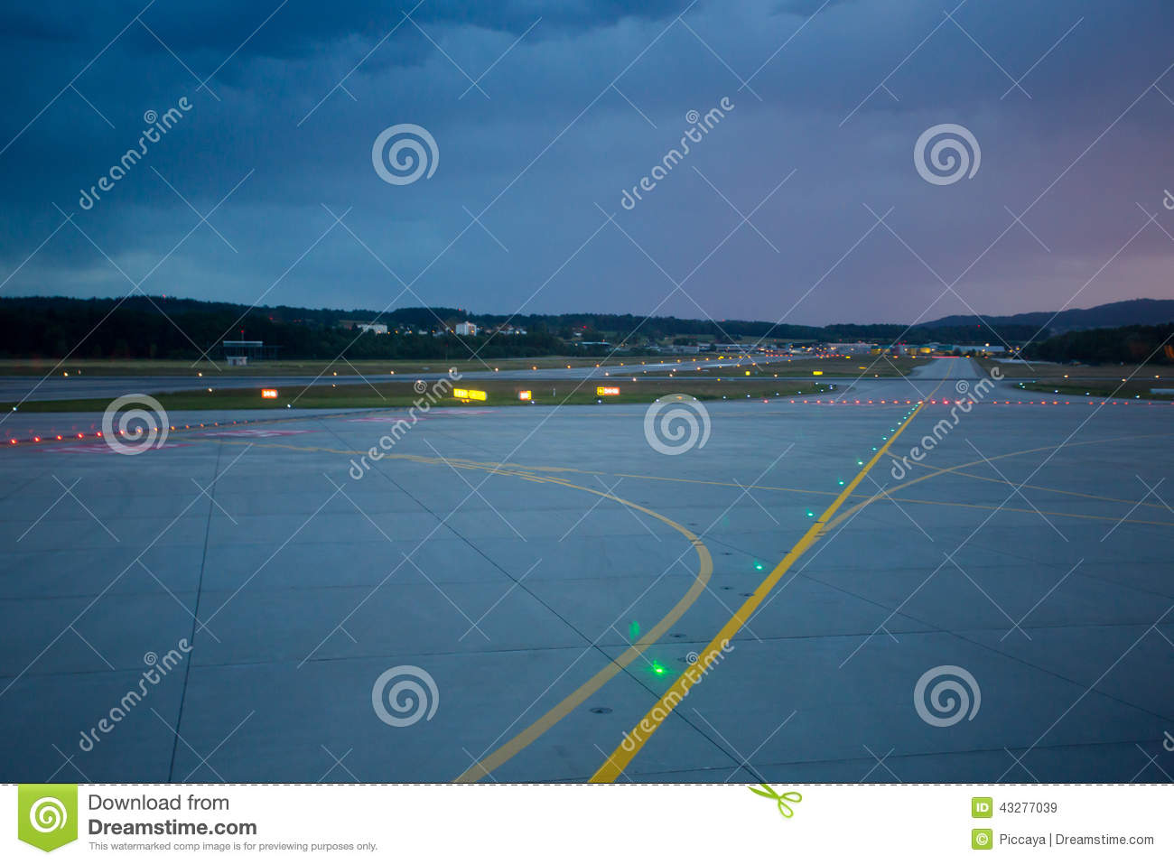 Download Landing Lights At Night On Airport Runway Stock Image   Image Of  Departure, Empty