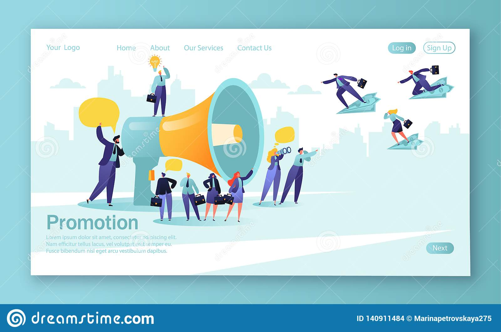 Concept of landing page for mobile website development and web page design. Promoter speaks in big megaphone and attracts buyers o