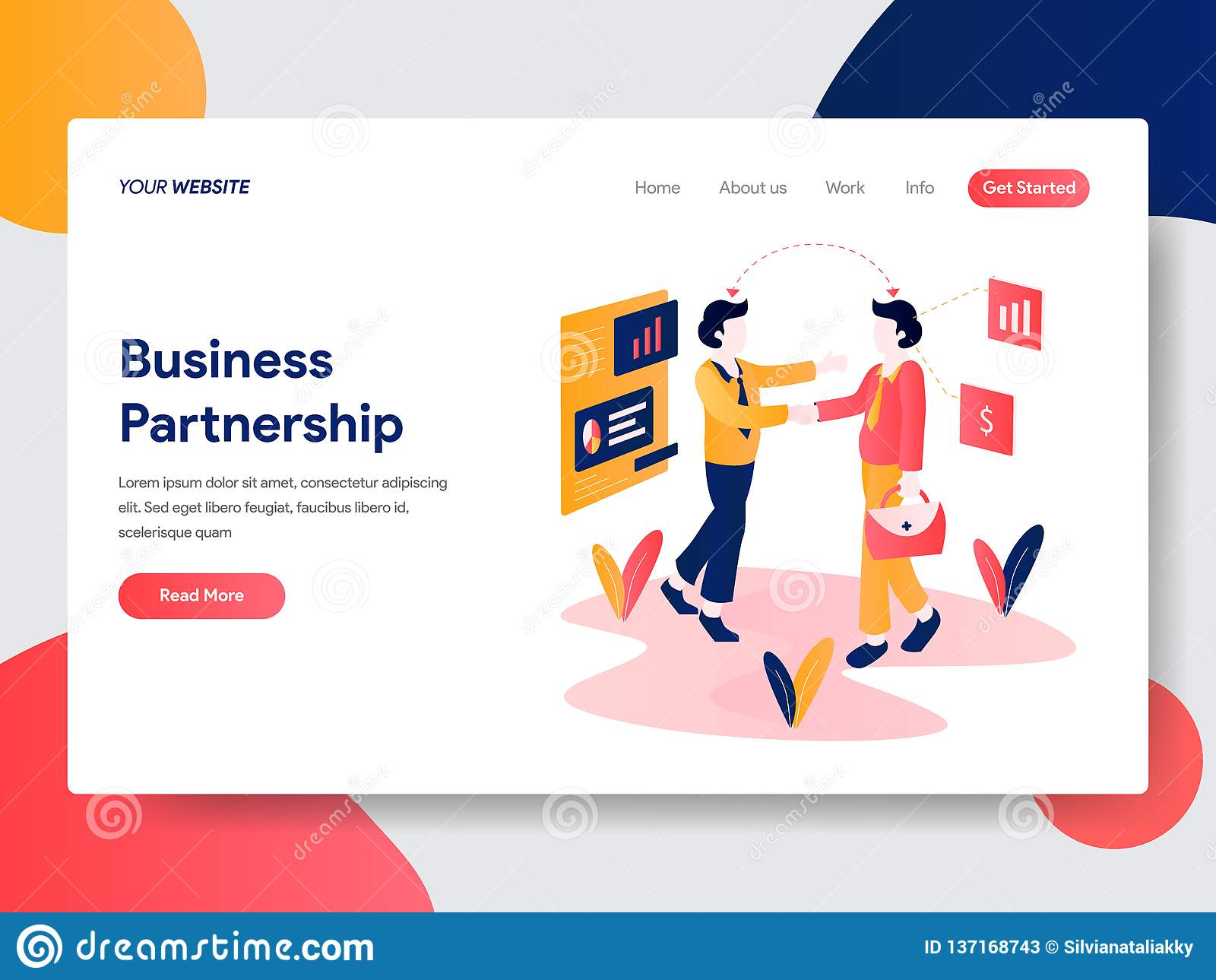 Landing page template of Business Partnership Concept. Modern flat design concept of web page design for website and mobile
