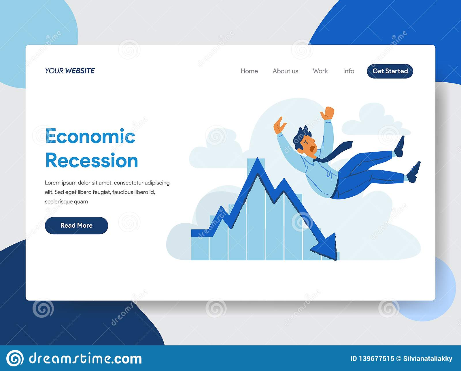 Landing page template of Businessman with Economic Recession Illustration Concept. Modern flat design concept of web page design