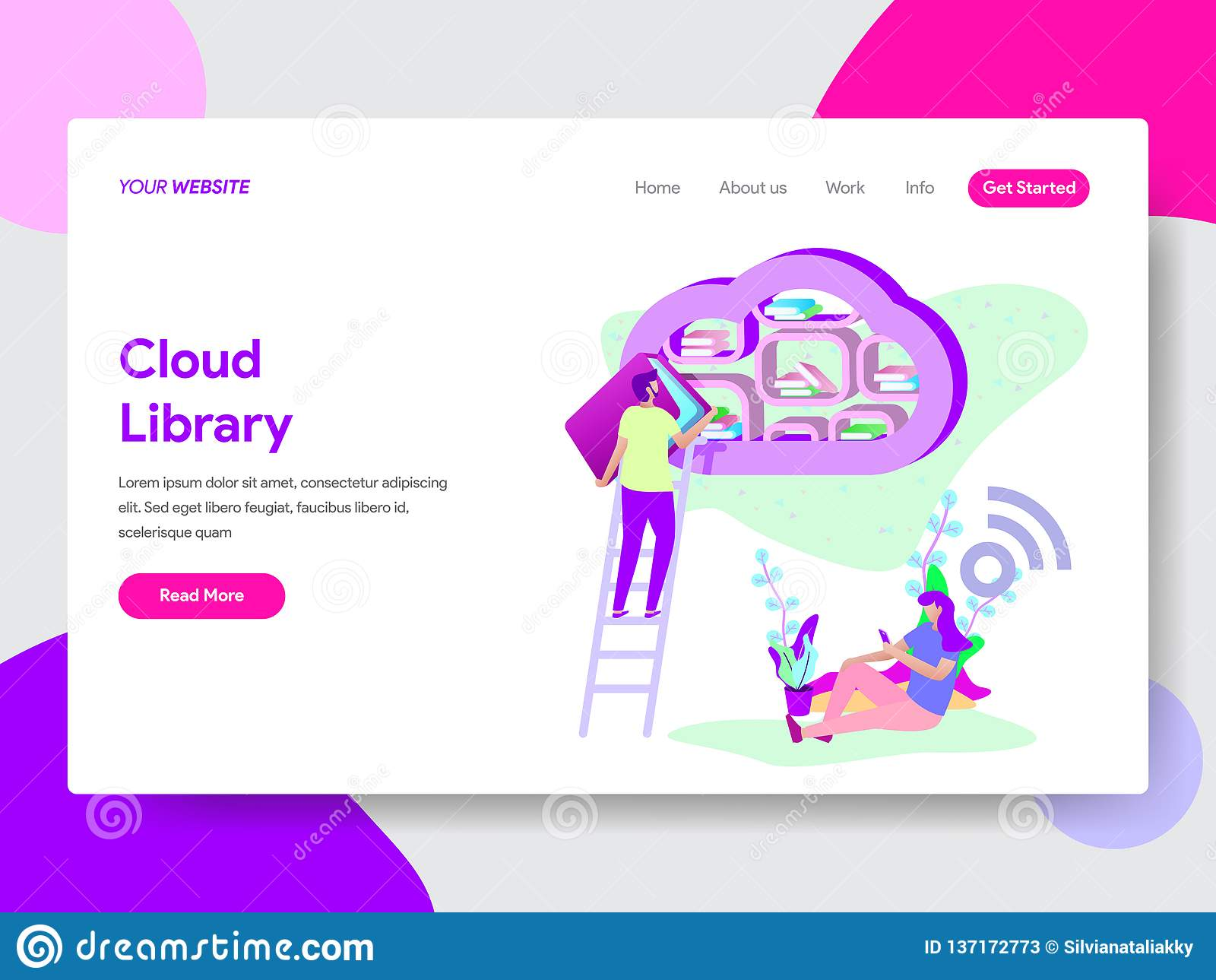 Landing page template of Cloud Library Illustration Concept. Modern flat design concept of web page design