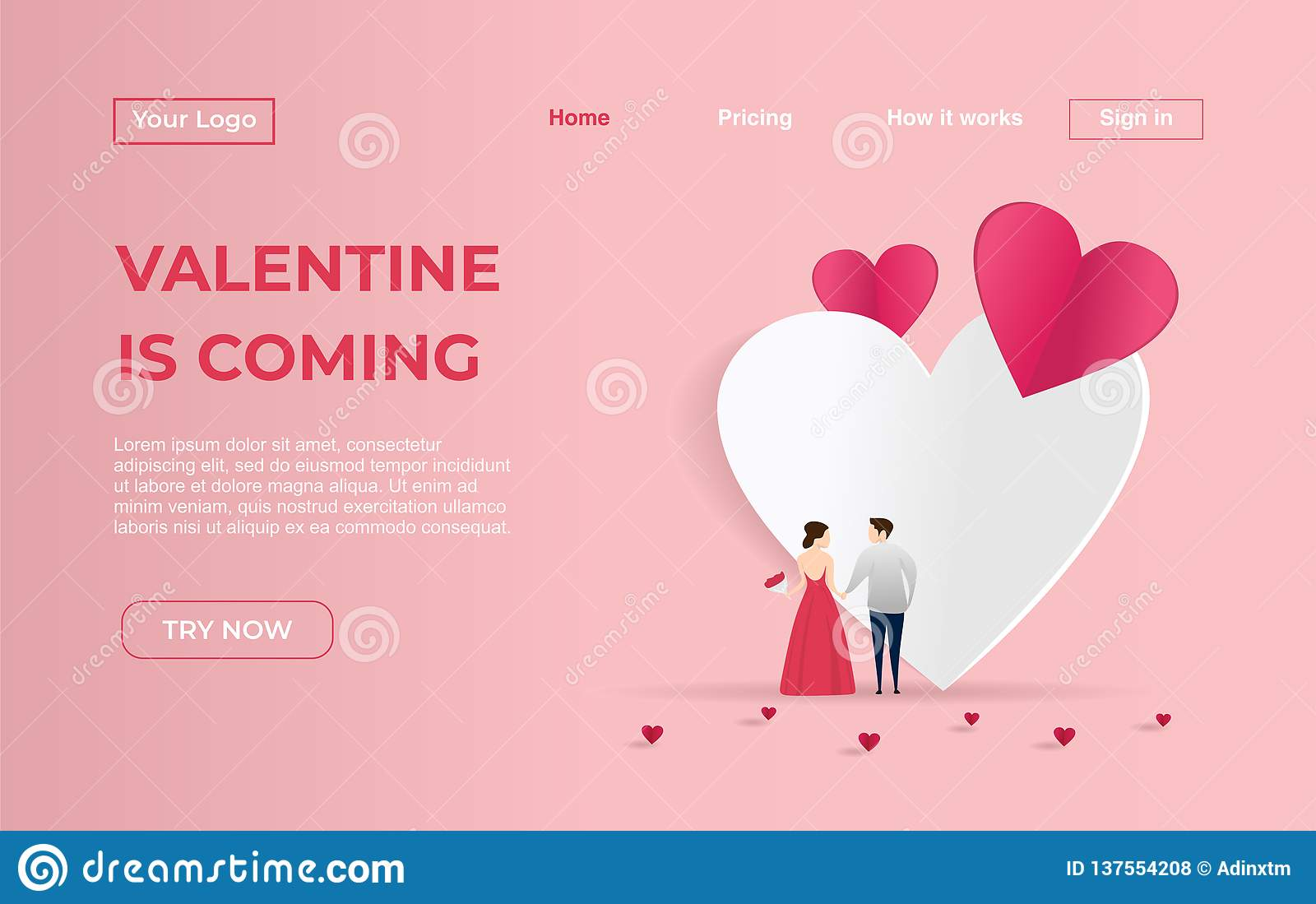 d626f84af3 Awesome Landing page template of Couple with Valentine Dating Apps  Illustration Concept. Modern flat design concept of web page design for  website and ...