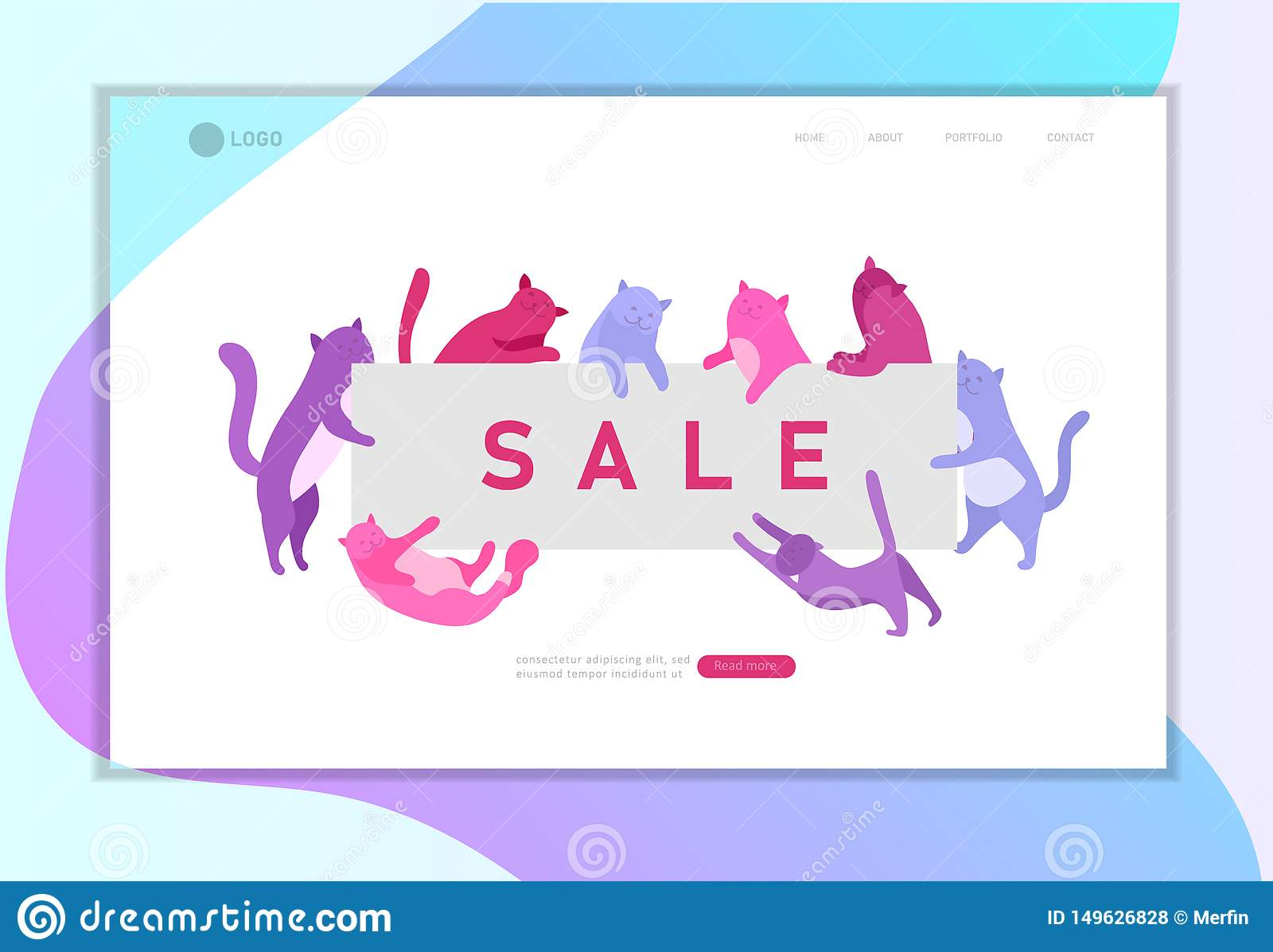Landing Page Template With Cute Cats Holding Blank Banner Sale