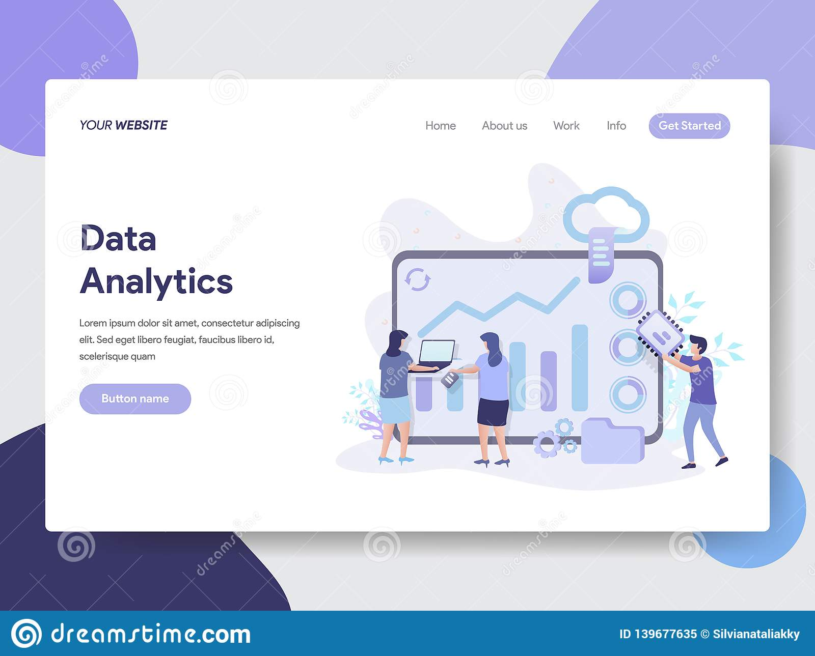 Landing page template of Data Analytics Illustration Concept. Modern flat design concept of web page design for website and mobile