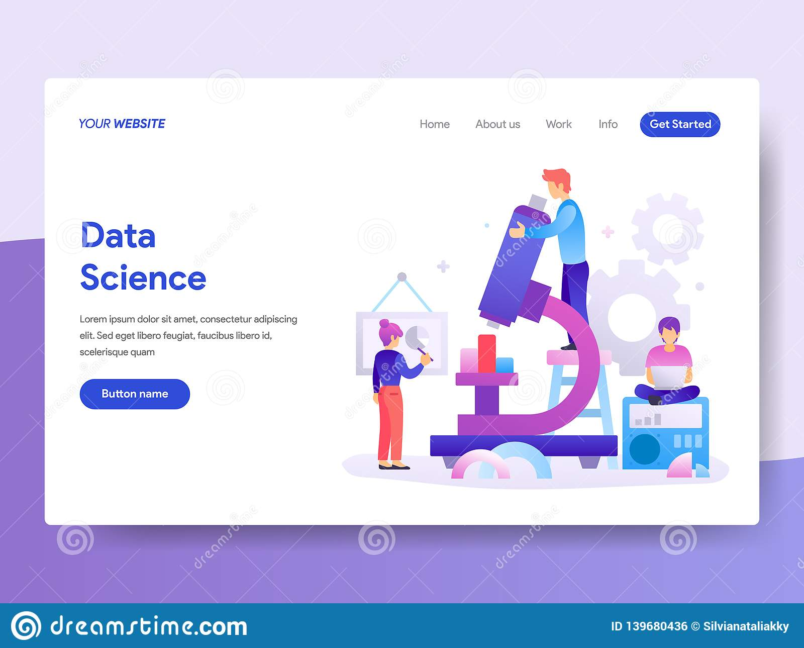 Landing Page Template Of Data Science Concept  Modern Flat Design