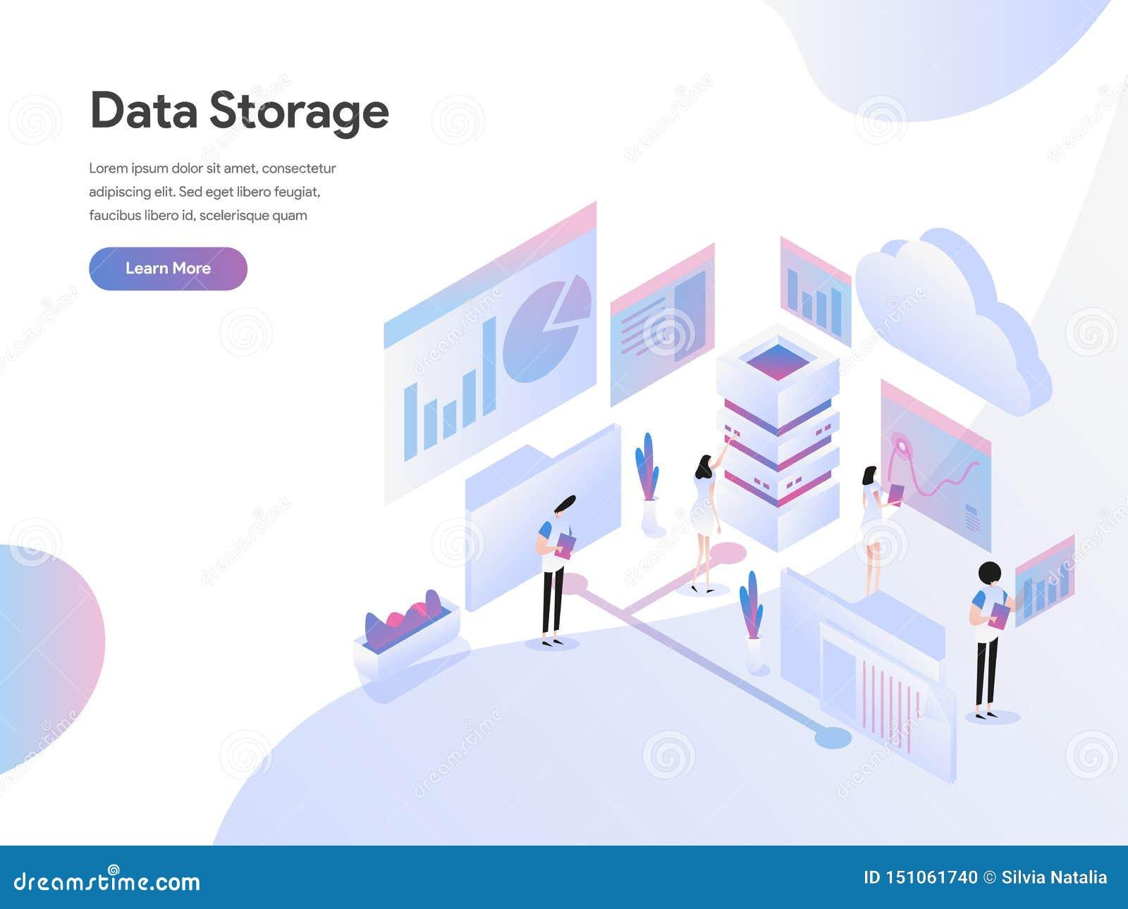 Landing Page Template Of Data Storage Isometric Illustration